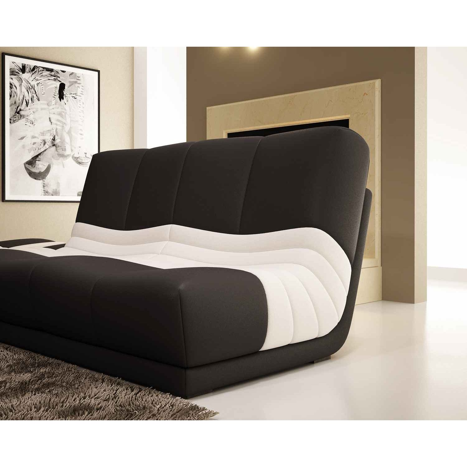 deco in paris canape d angle fauteuil modulable en cuir noir et blanc caprice caprice noir. Black Bedroom Furniture Sets. Home Design Ideas