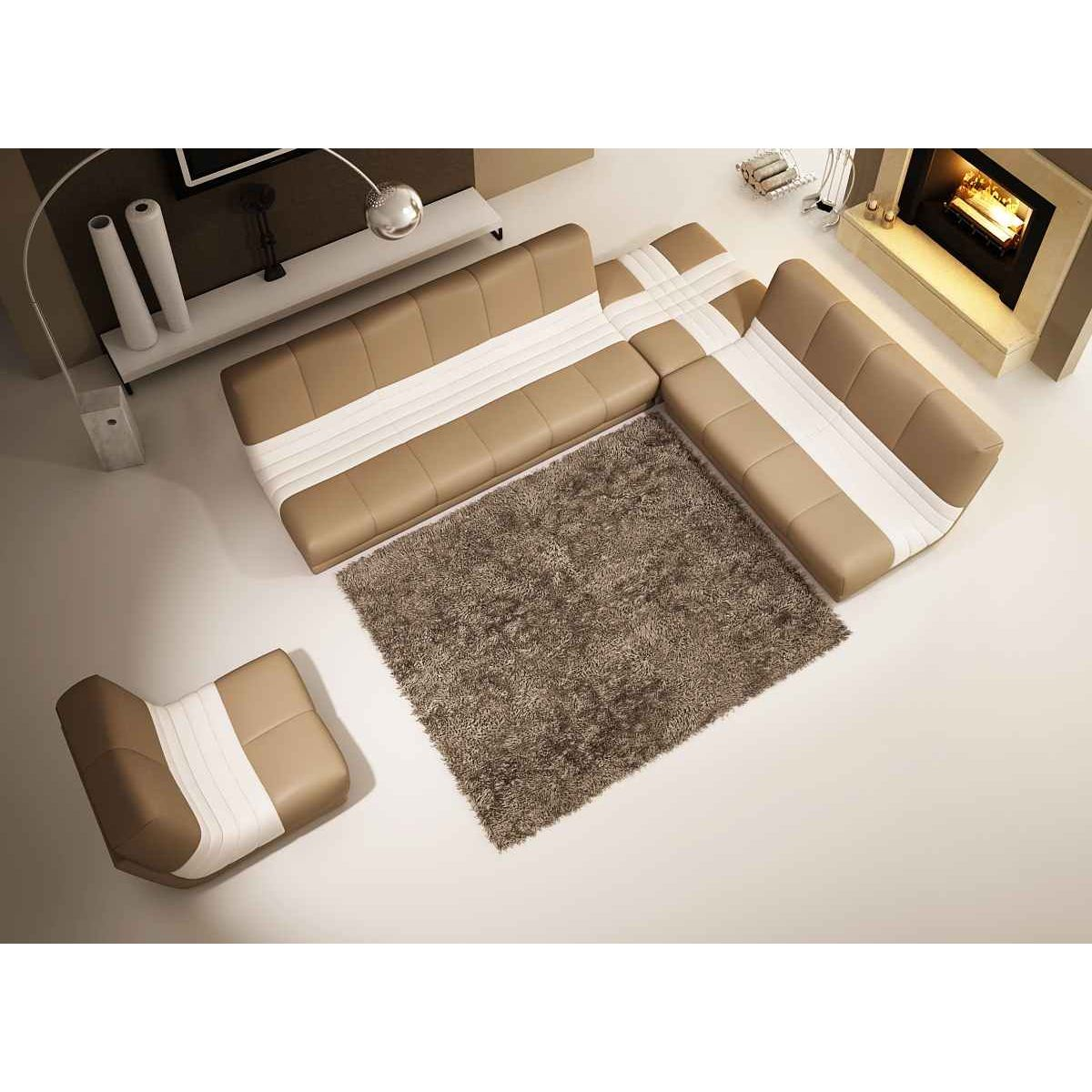 deco in paris canape d angle fauteuil modulable en cuir beige et blanc caprice caprice beige blanc. Black Bedroom Furniture Sets. Home Design Ideas