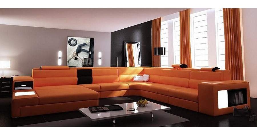 deco in paris canape panoramique cuir angle gauche orange venise can pano anglegauche pu. Black Bedroom Furniture Sets. Home Design Ideas