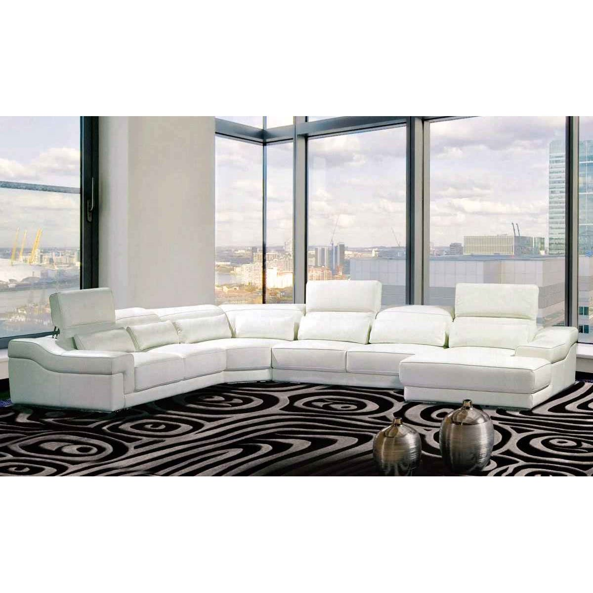 Deco in paris canape panoramique cuir blanc avec tetieres relax panama can - Canape panoramique cuir center ...