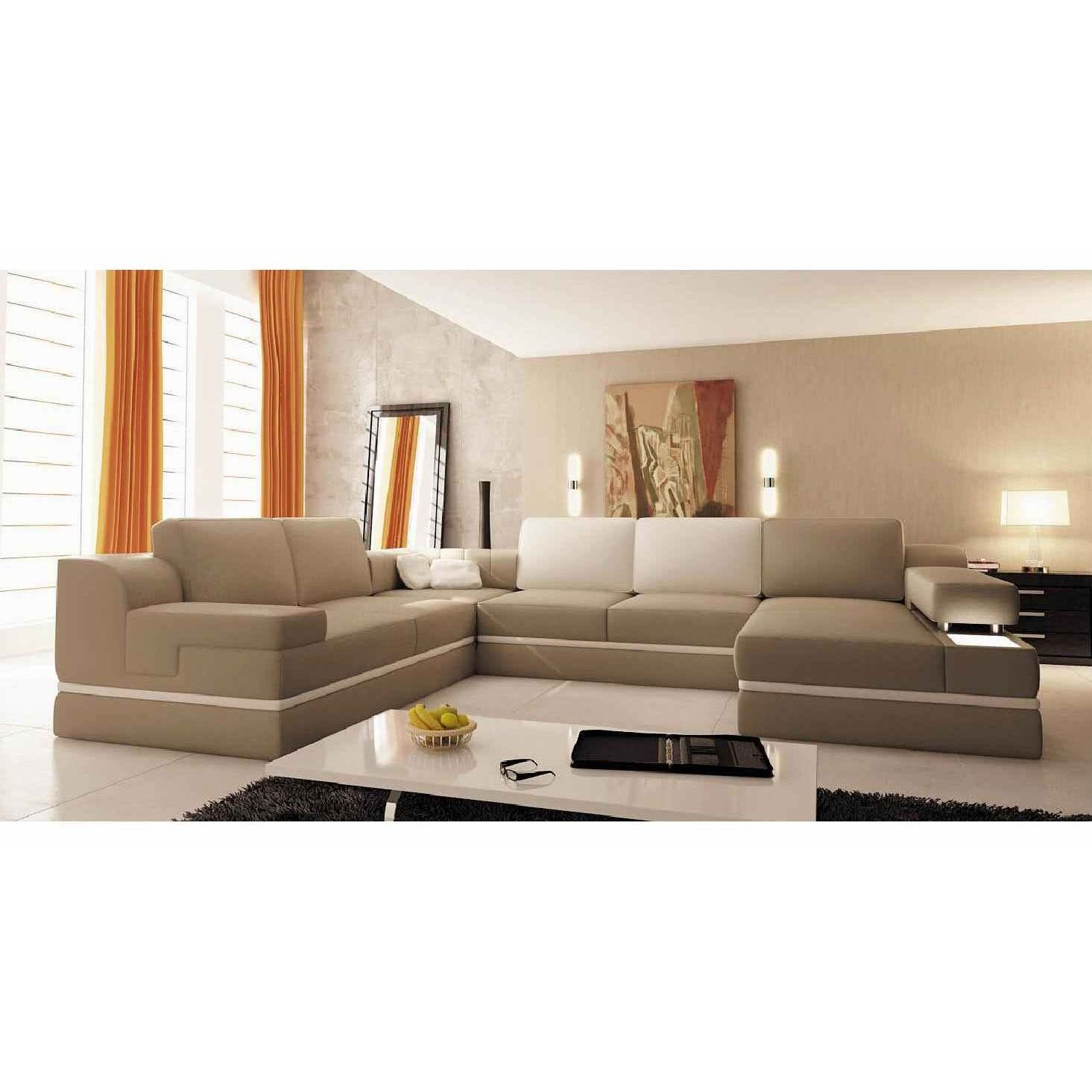deco in paris canape panoramique cuir beige et blanc madrid can angledroit pu venise beige blanc. Black Bedroom Furniture Sets. Home Design Ideas