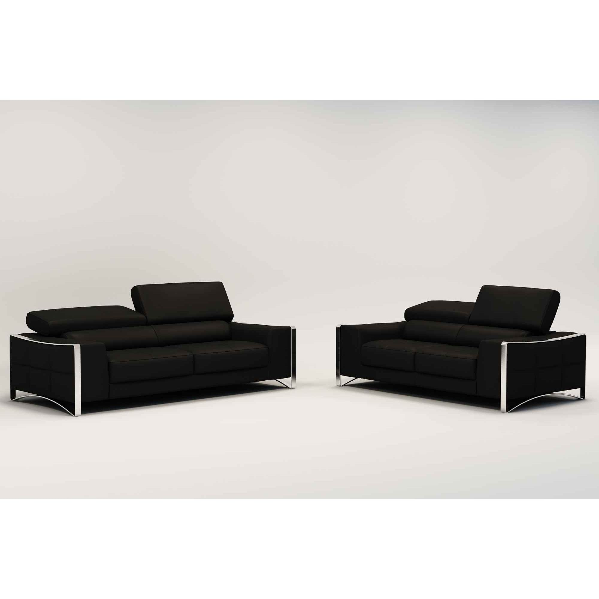 Deco in paris ensemble canape cuir 3 2 places noir - Canape 3 et 2 places ...