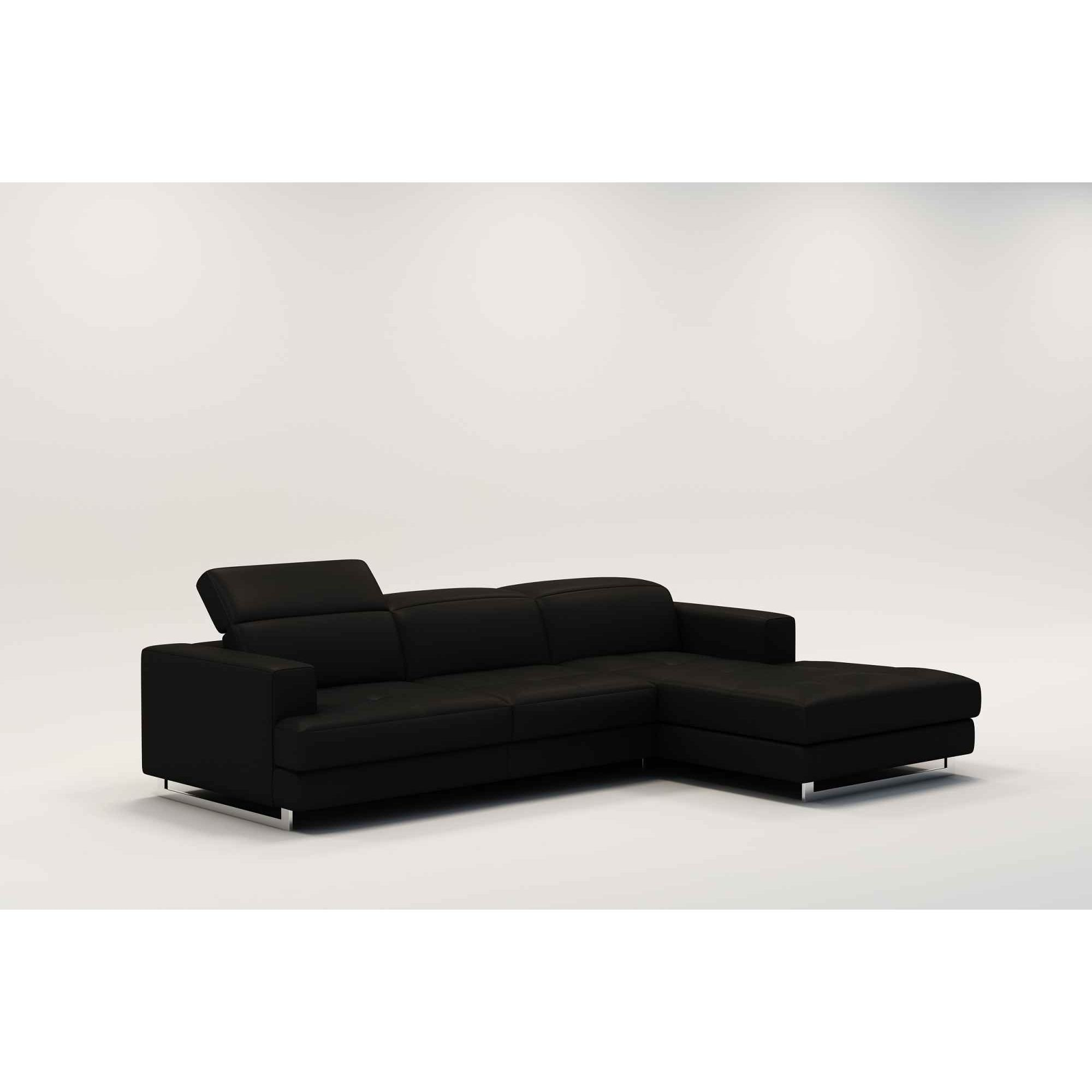 Deco in paris canape d angle design en cuir noir cris for Canape cuir noir design