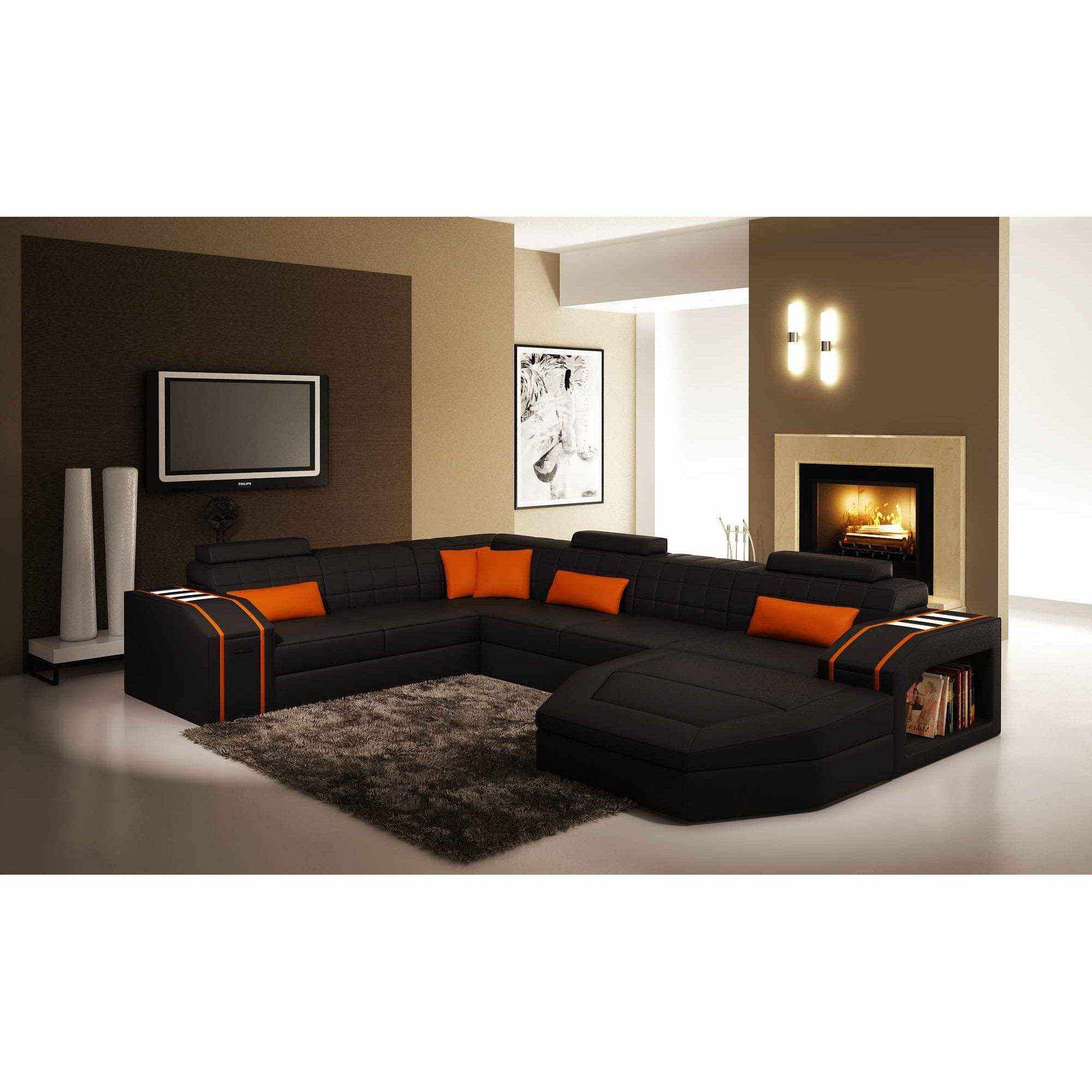orange and black living room ideas deco in canape d angle panoramique cuir noir et 25311
