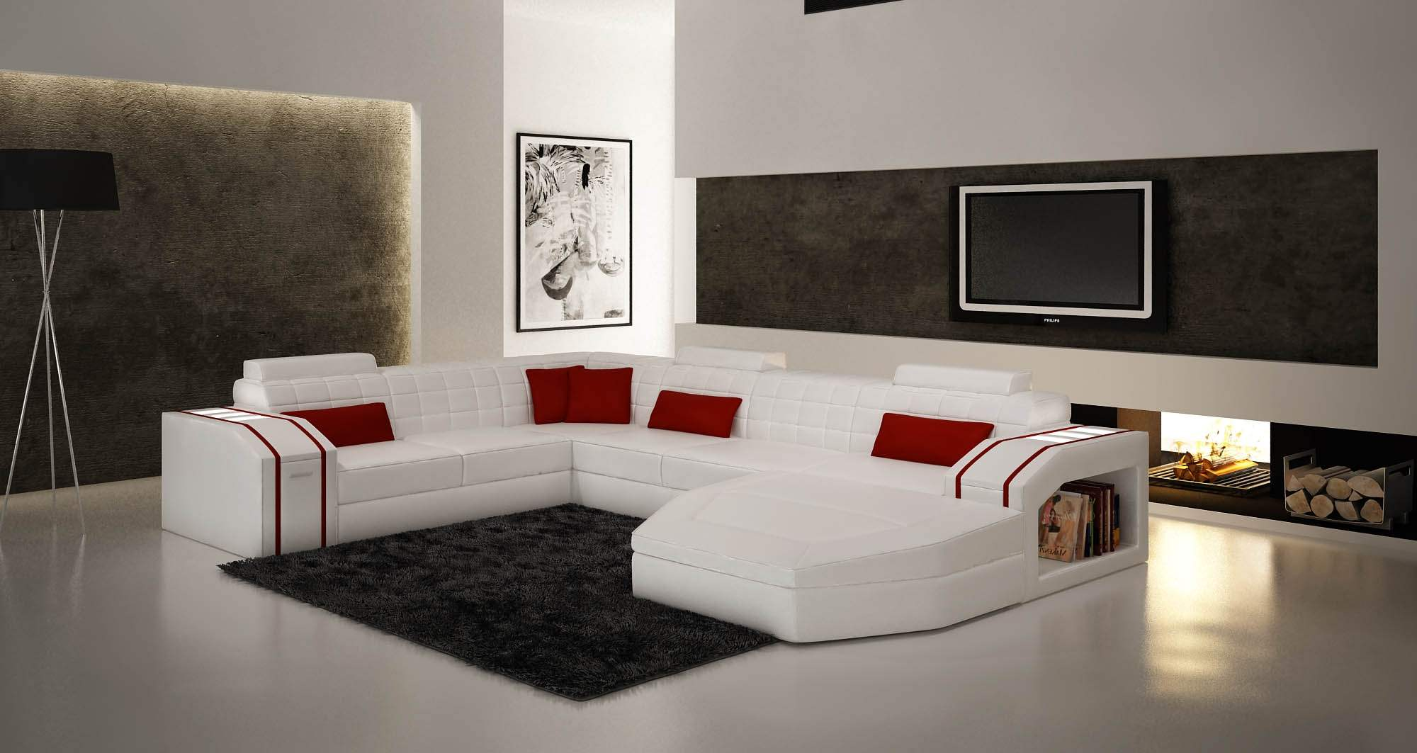 deco in paris canape d angle panoramique cuir blanc et rouge saturn satur blan roug pano. Black Bedroom Furniture Sets. Home Design Ideas