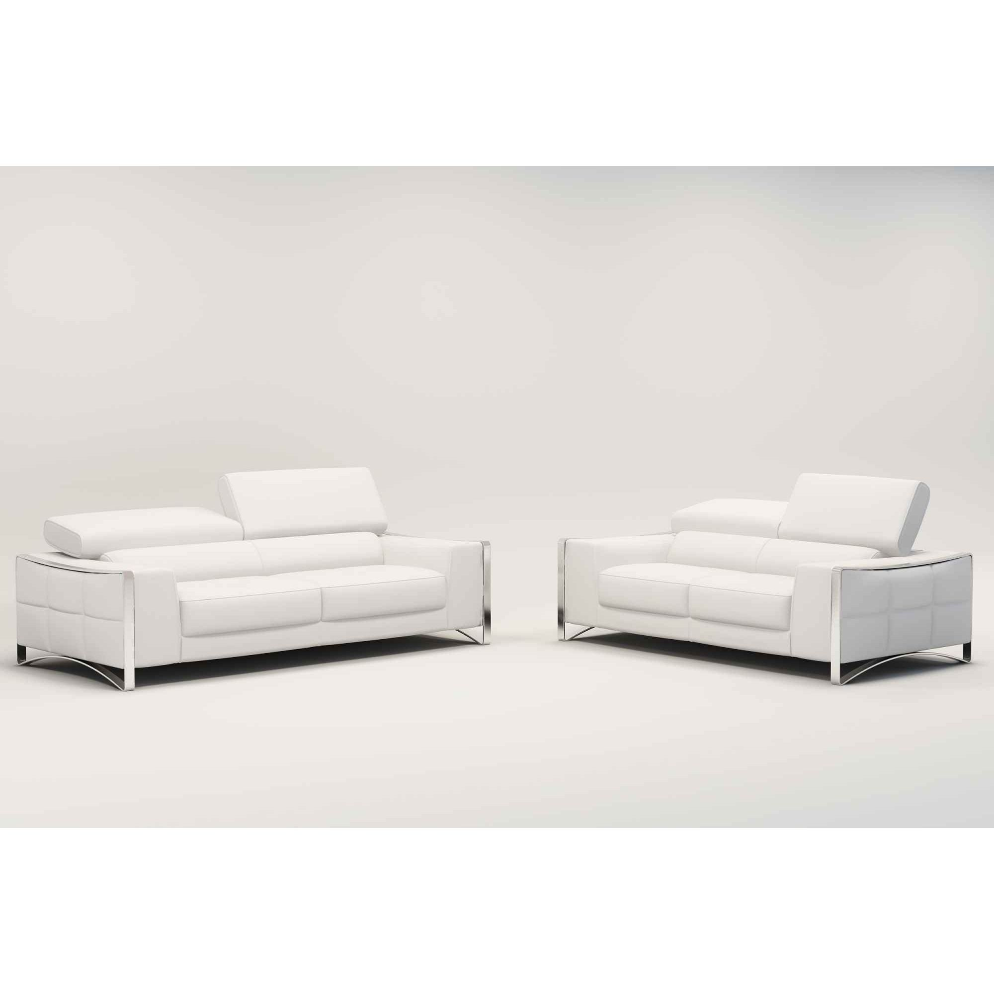 Deco in paris 2 ensemble canape cuir 3 2 places blanc for Canape lit cuir 3 places