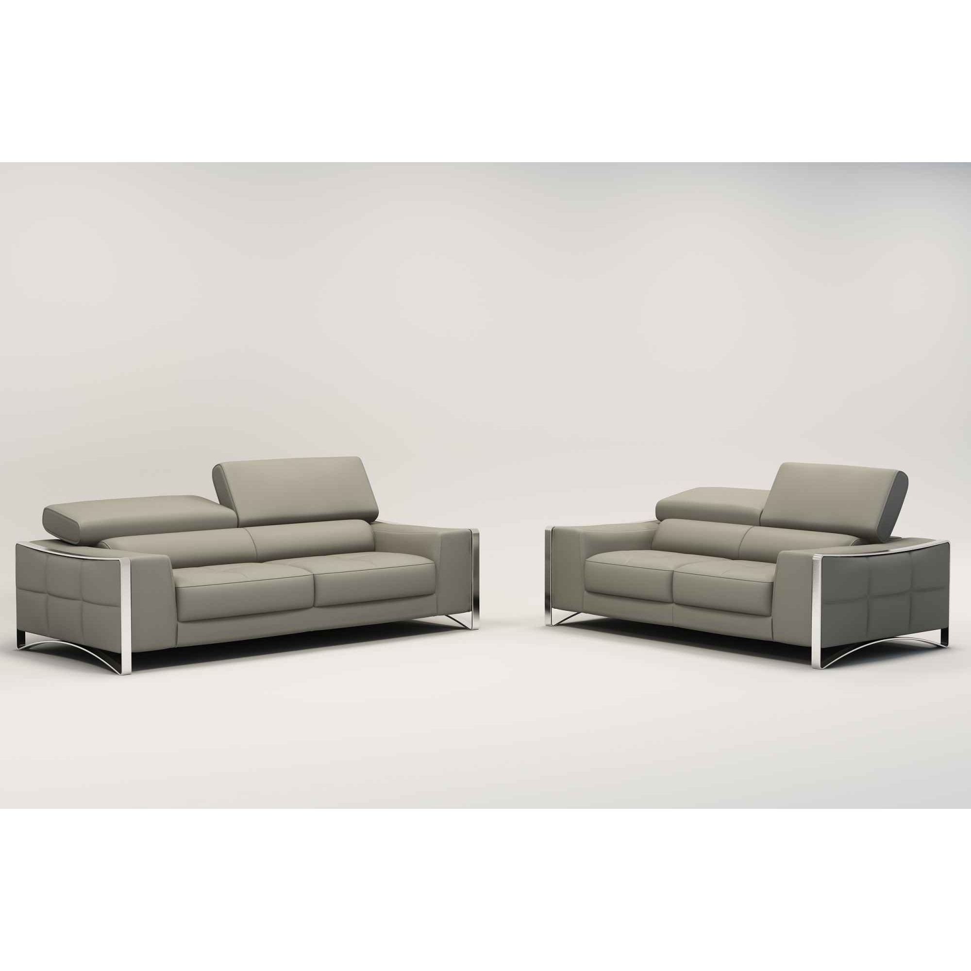 Deco in paris 3 ensemble canape cuir 3 2 places gris for Canape 2 places gris