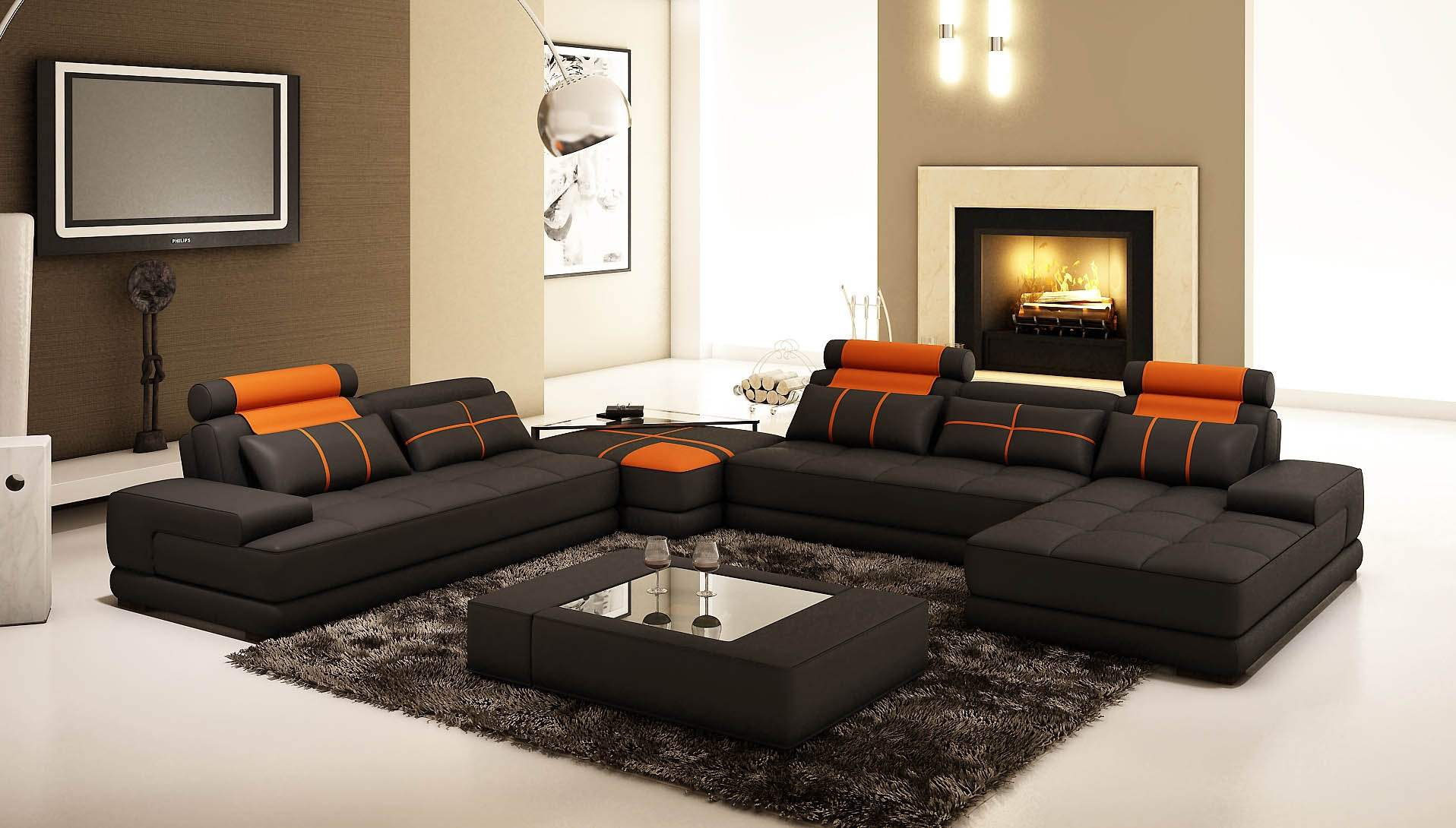 Deco in paris canape d angle panoramique cuir noir et for 7 seater living room