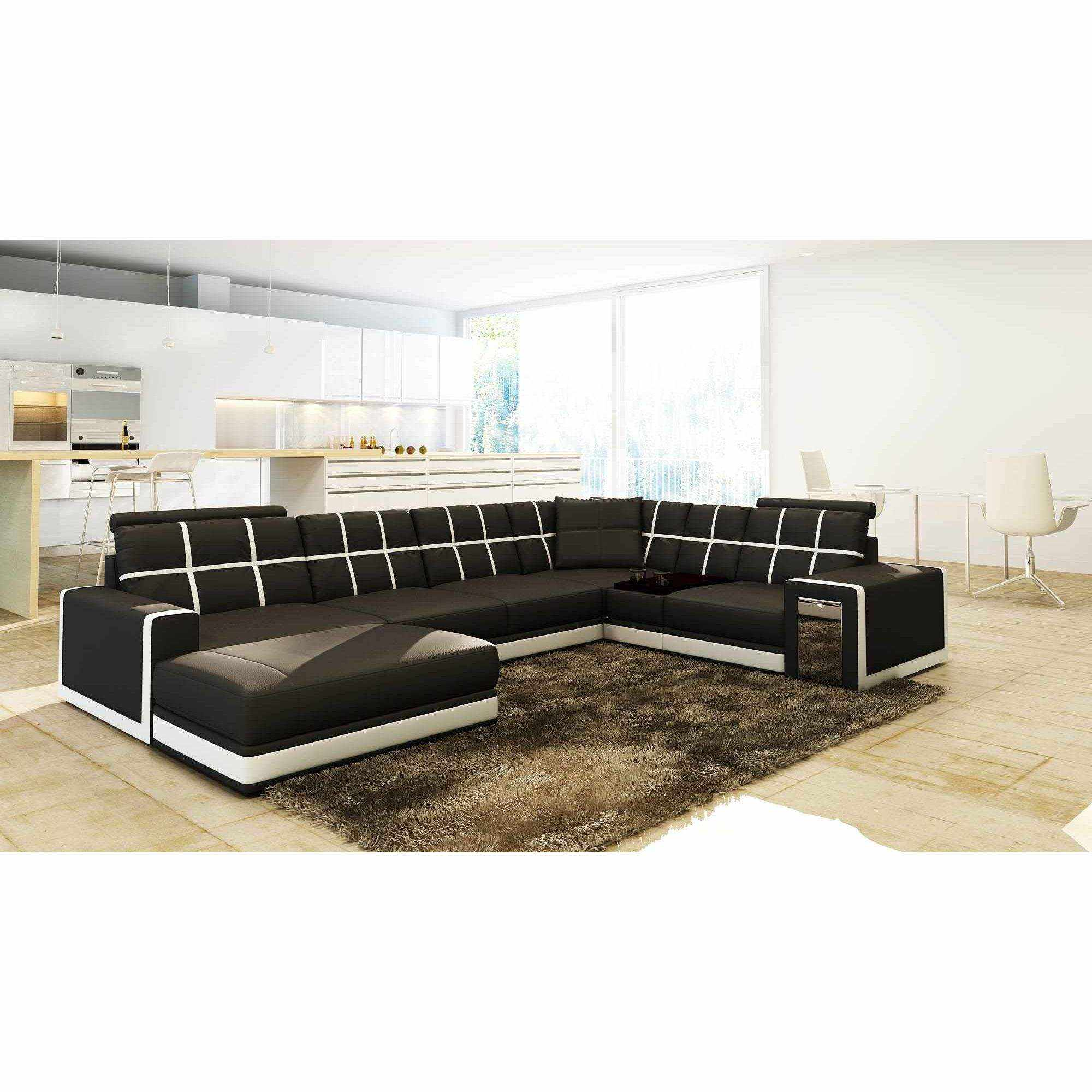 Deco in paris canape d angle panoramique cuir noir et for Canape cuir angle design