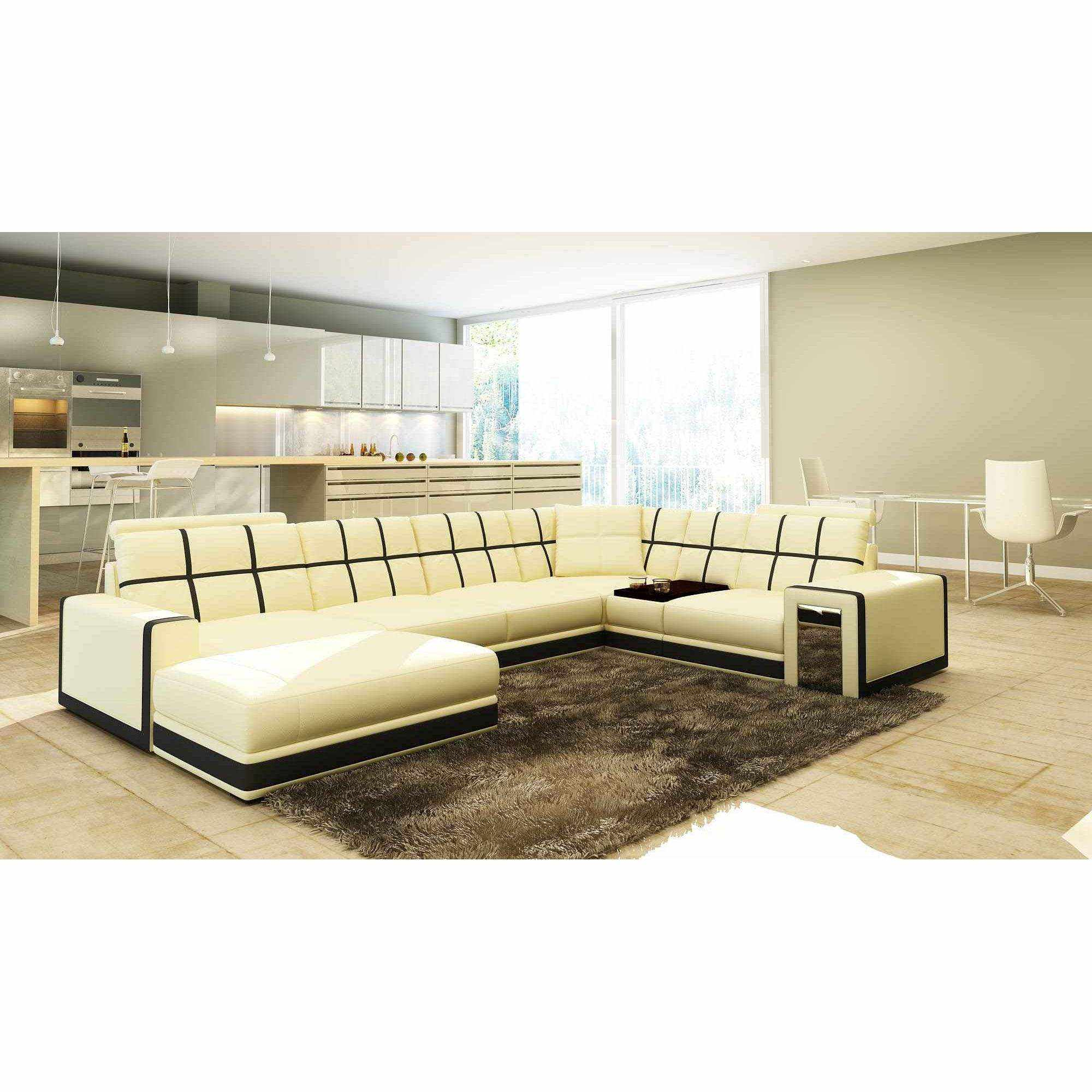 Deco in paris canape d angle panoramique cuir beige et noir design electra - Canape panoramique design ...