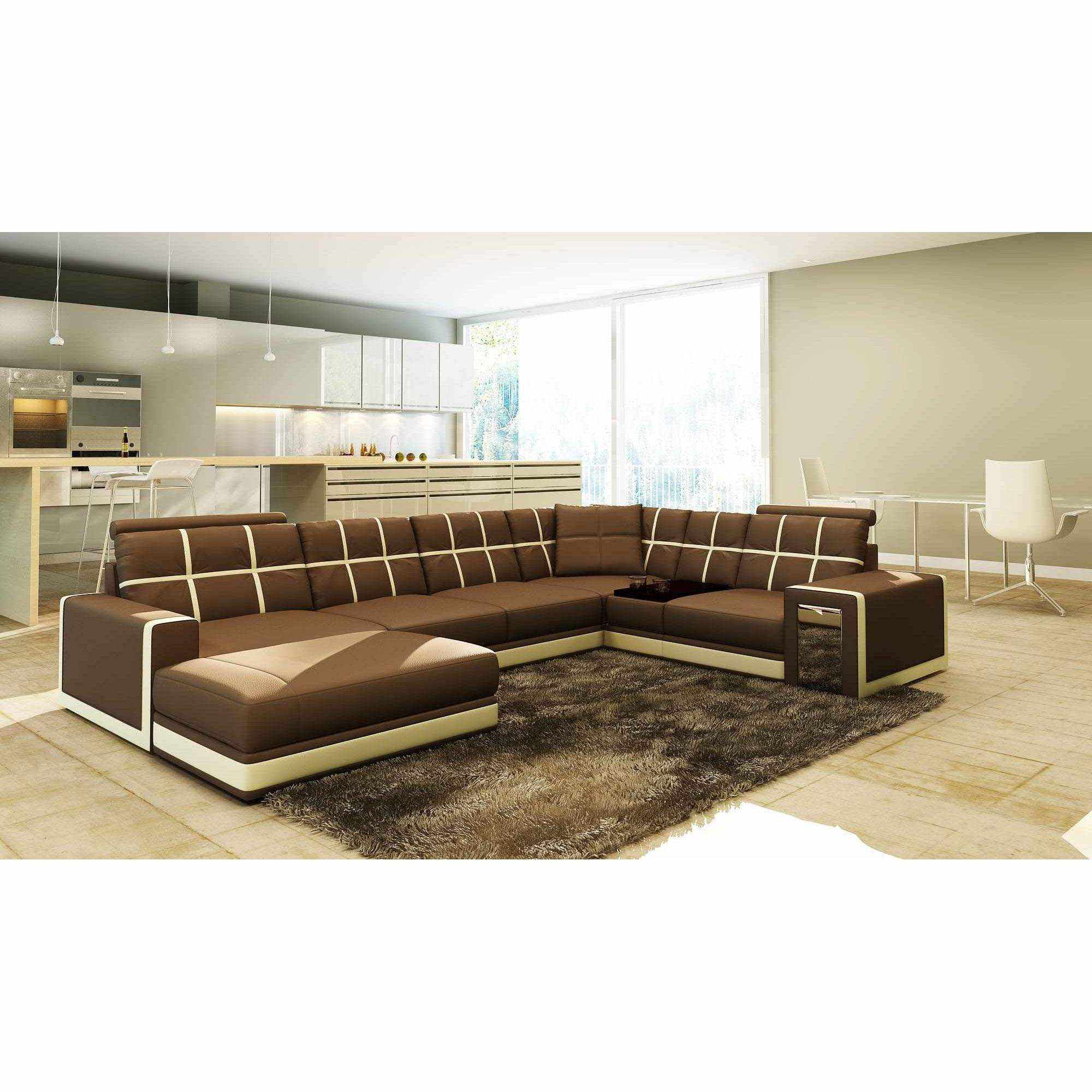 Deco in paris canape d angle panoramique cuir marron et for Salon moderne beige marron