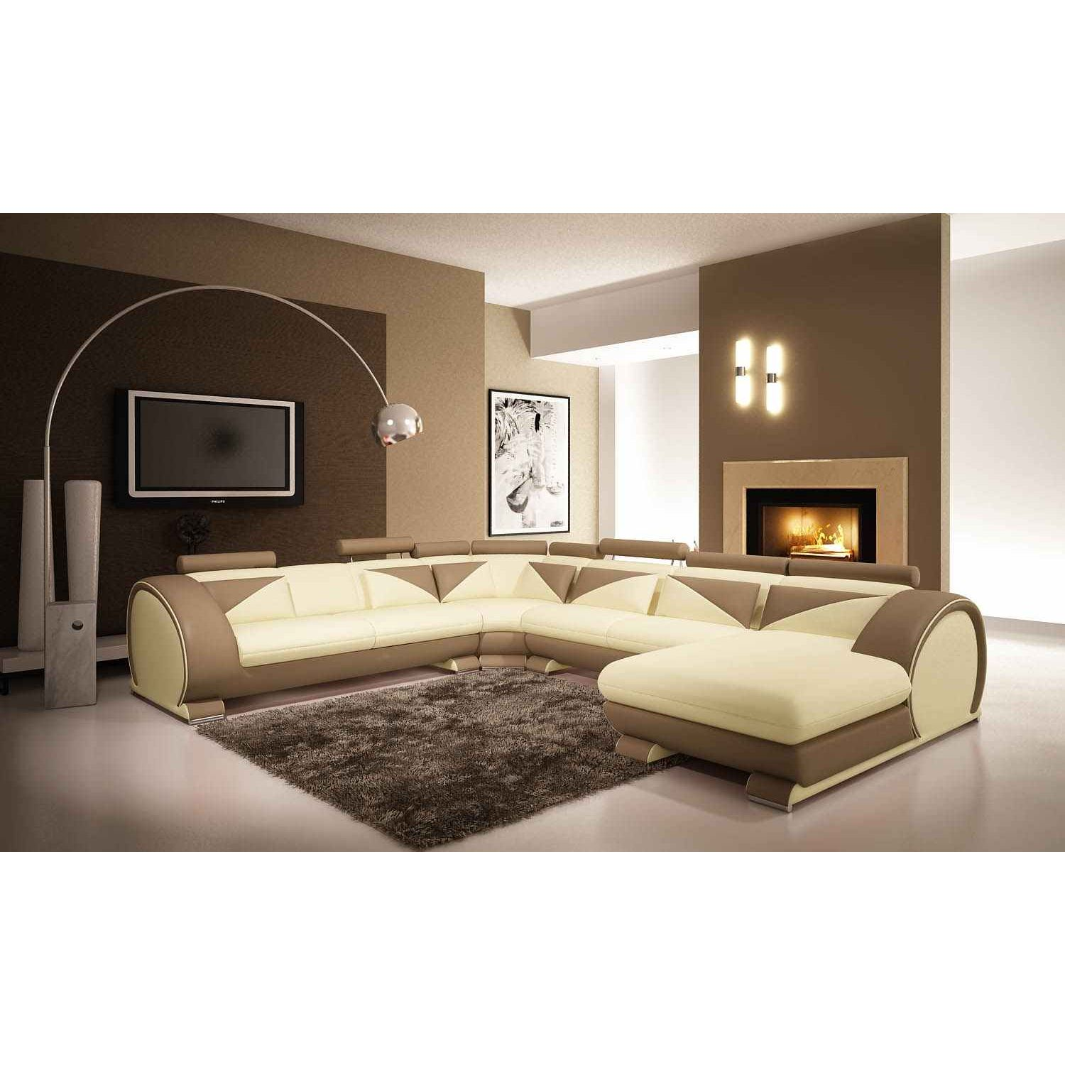 deco in paris canape d angle panoramique cuir beige et marron miami angl pano beig marron miami. Black Bedroom Furniture Sets. Home Design Ideas
