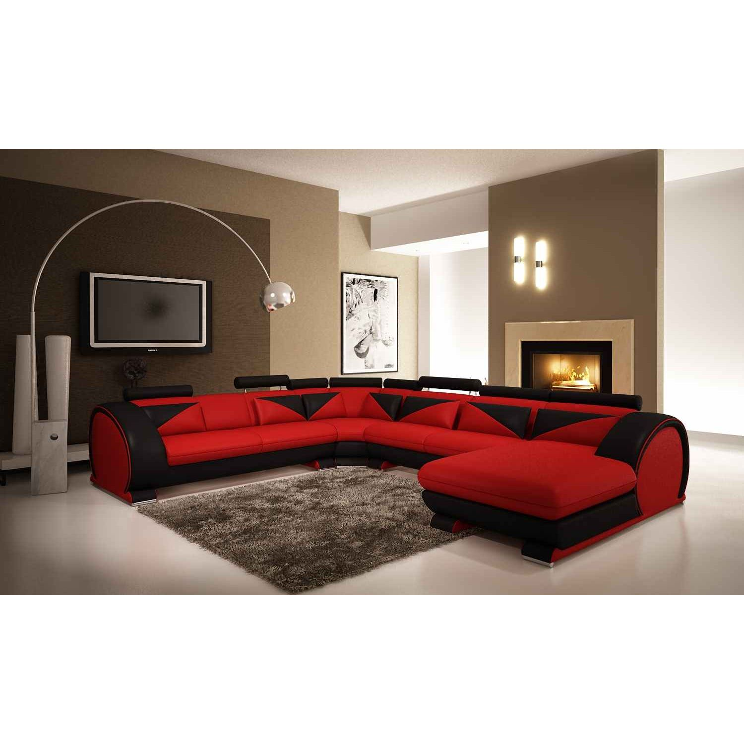 deco in paris canape d angle panoramique cuir rouge et noir miami angl rouge noir pano. Black Bedroom Furniture Sets. Home Design Ideas