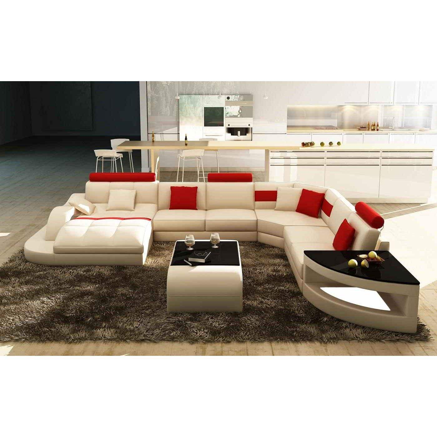 Deco in paris canape d angle design panoramique blanc et rouge istanbul pan - Canape d angle cuir rouge ...