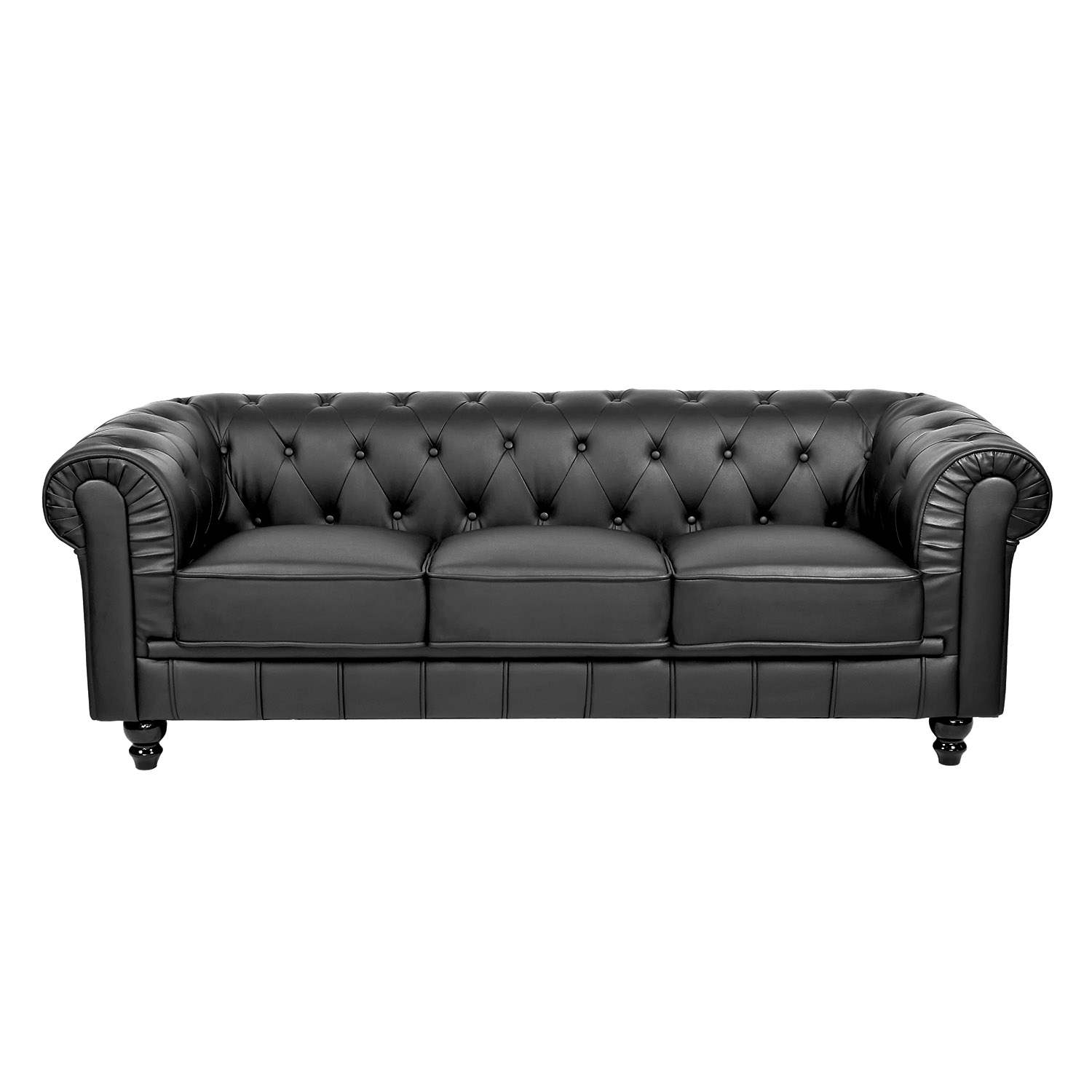 Deco in paris canape 3 places noir chesterfield can chester 3p pu noir - Canape chesterfield noir ...