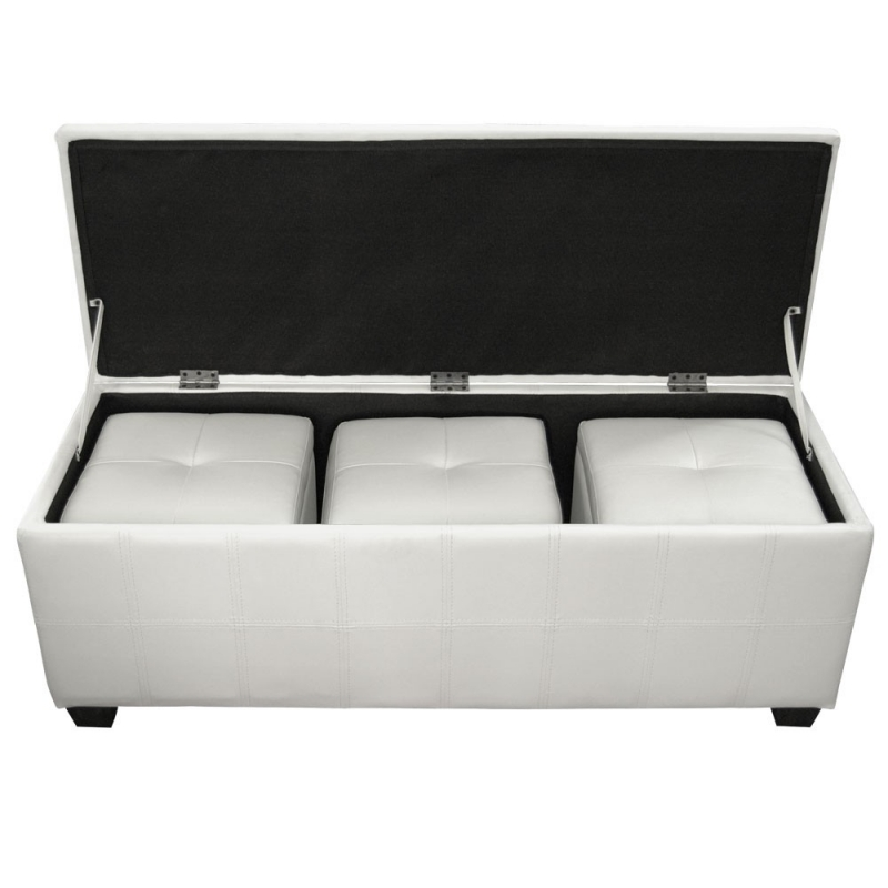 deco in paris banquette coffre capitonnee blanc 3 poufs floride banq 3xpouf floride pu blanc. Black Bedroom Furniture Sets. Home Design Ideas