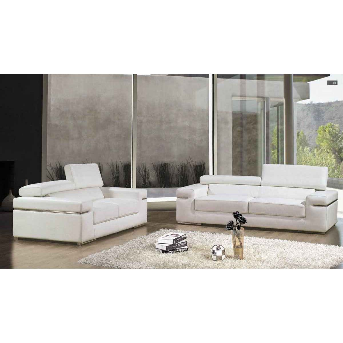 Deco in paris canape 3 places en cuir blanc thomas can - Canape cuir blanc relax ...