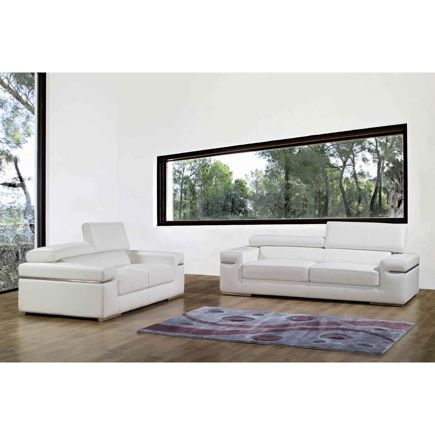deco in paris ensemble canape 3 2 places en cuir blanc. Black Bedroom Furniture Sets. Home Design Ideas