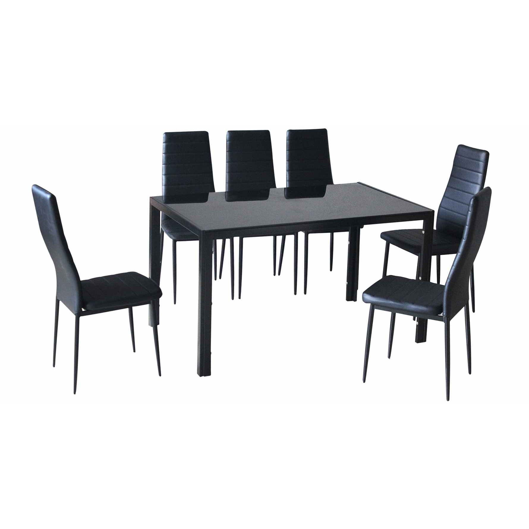 deco in paris table 6 chaises noir malia inconnu. Black Bedroom Furniture Sets. Home Design Ideas