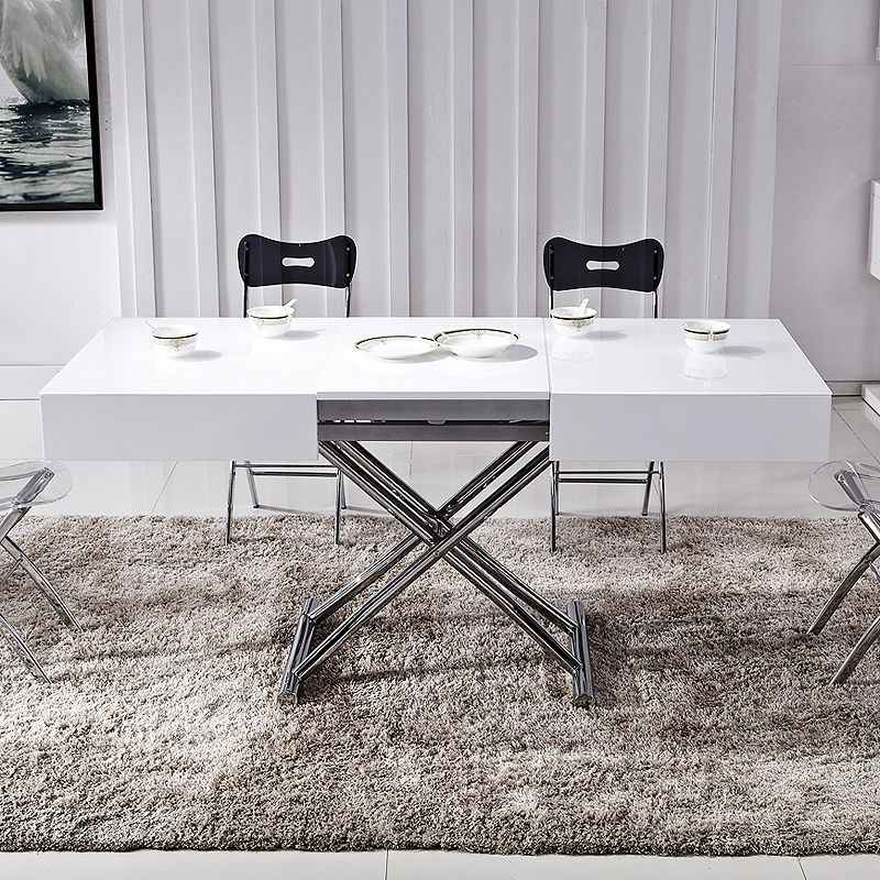 deco in paris table basse relevable extensible blanche. Black Bedroom Furniture Sets. Home Design Ideas