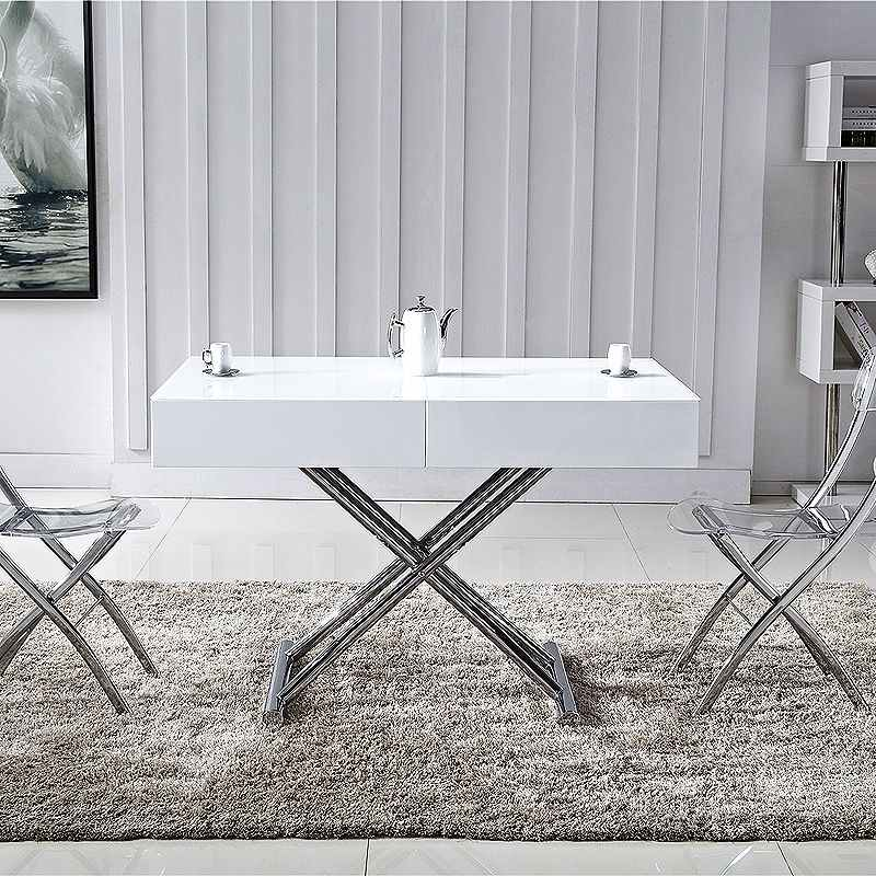 Deco in paris table basse relevable extensible blanche for Table blanc laquee carree extensible