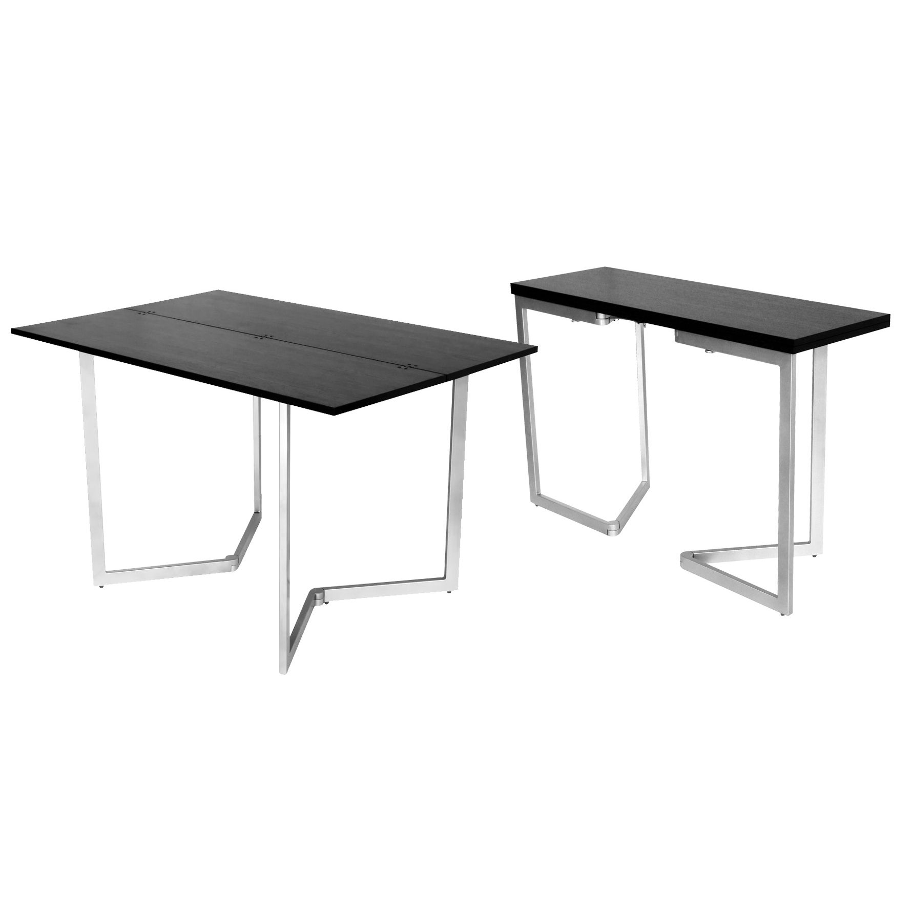 Table console extensible bois wenge for Table extensible metal bois