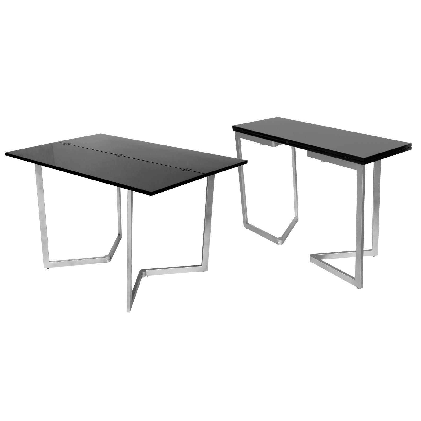 Deco in paris table console extensible noire laquee - Table extensible laquee ...