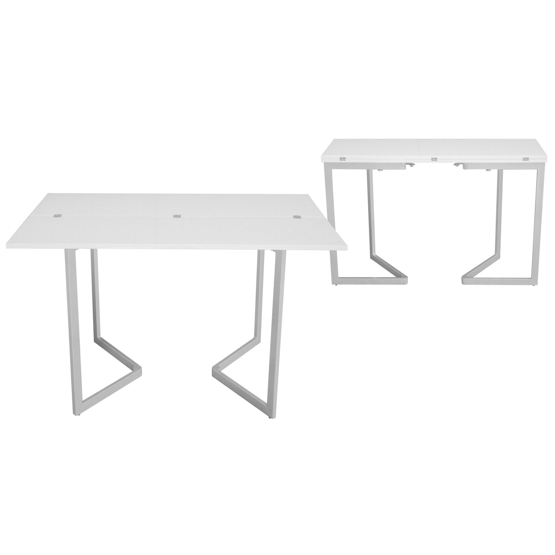 Deco in paris table console extensible blanche laquee for Table ronde laquee blanc extensible