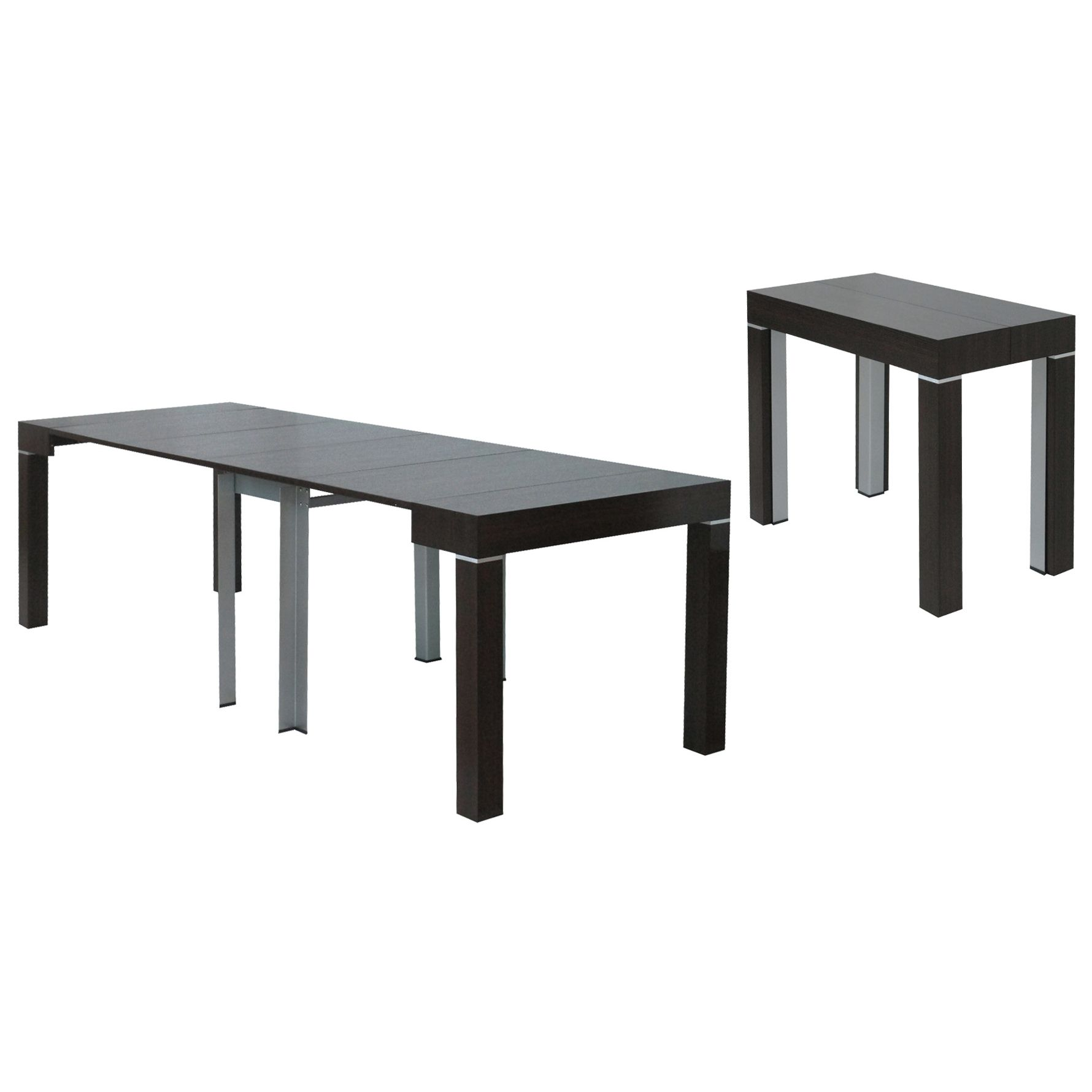 Deco in paris table console extensible wenge avec 4 for Table extensible avec rangement