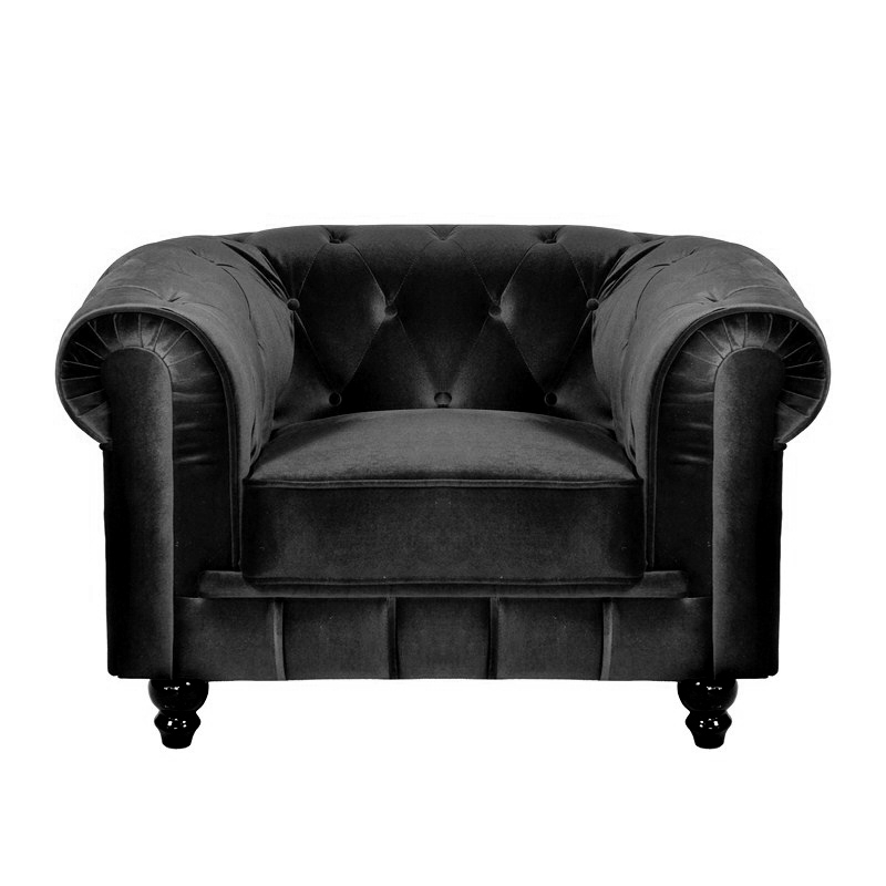 deco in paris fauteuil velours noir chesterfield fau chester 1p velours noir. Black Bedroom Furniture Sets. Home Design Ideas