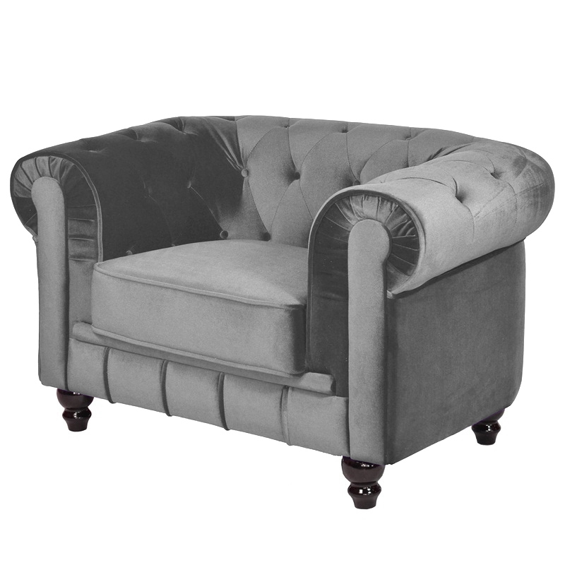 Deco in paris fauteuil velours gris chesterfield fau chester 1p velours gris - Fauteuil chesterfield velours ...