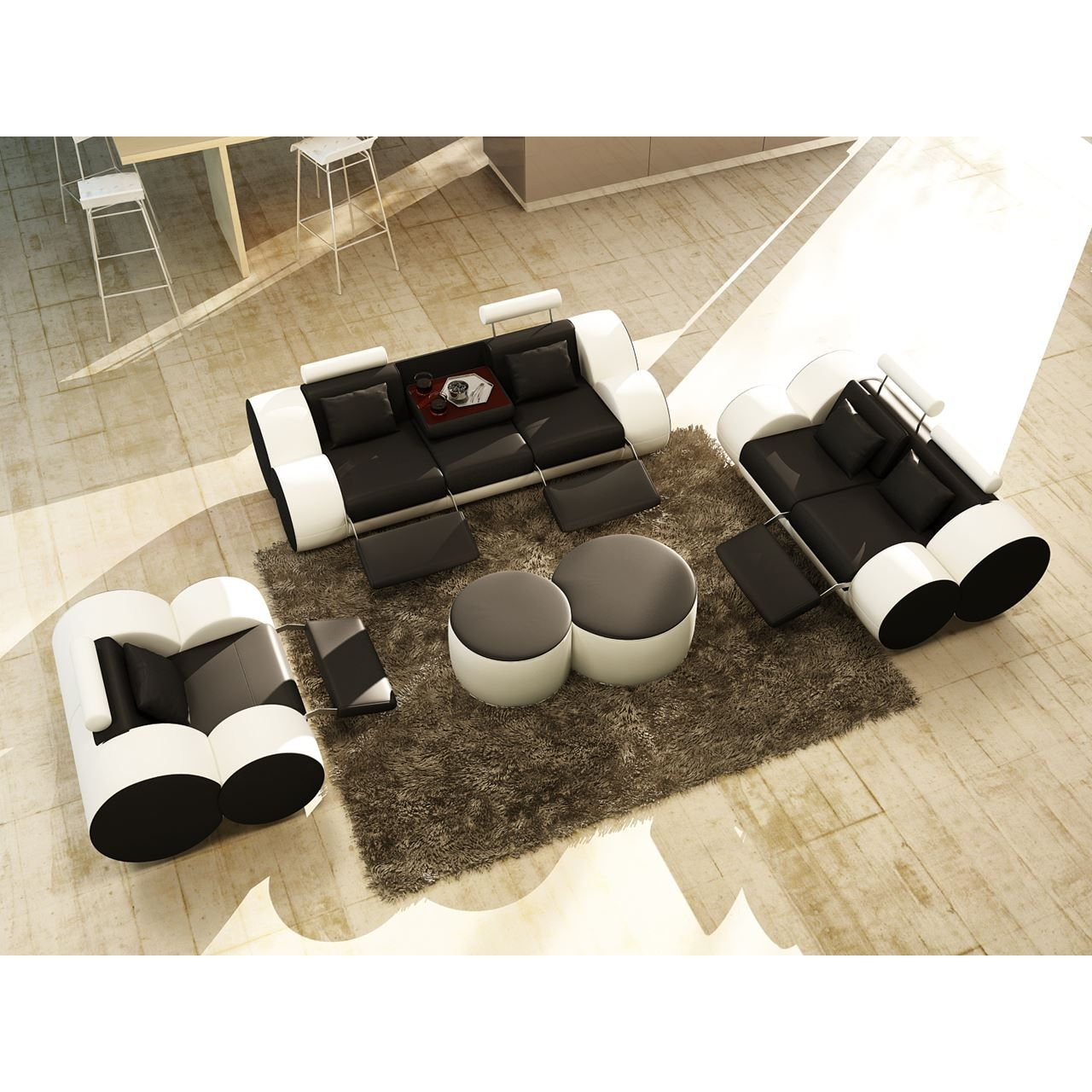 deco in paris ensemble canape design 3 2 1 place en cuir noir et blanc roma roma 3 2 1 noir blanc. Black Bedroom Furniture Sets. Home Design Ideas