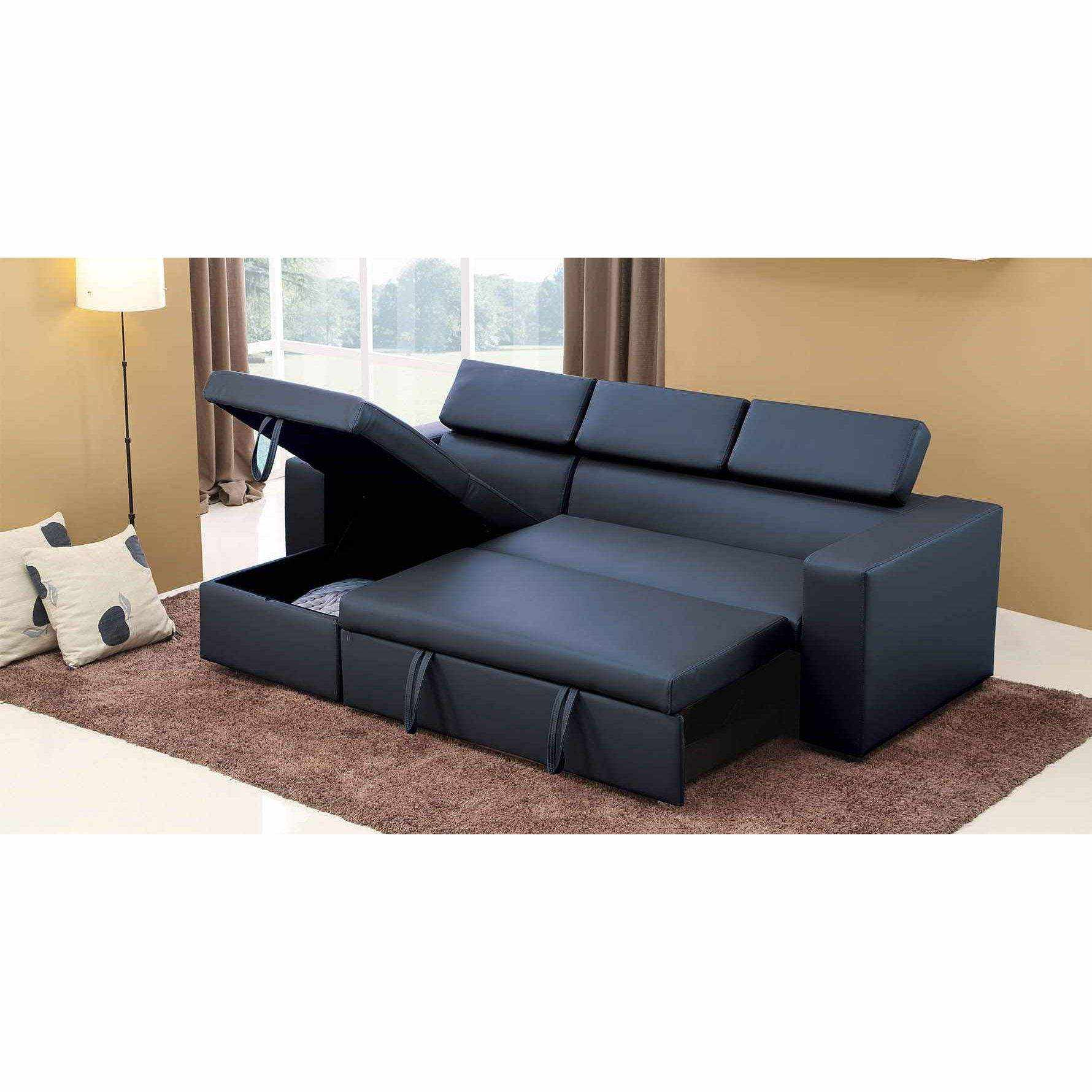 Deco in paris canape d angle convertible modulable noir for Canape banquette convertible