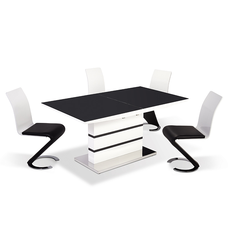Deco in paris table 4 chaises design noir et blanc for Table et chaises de salle a manger design