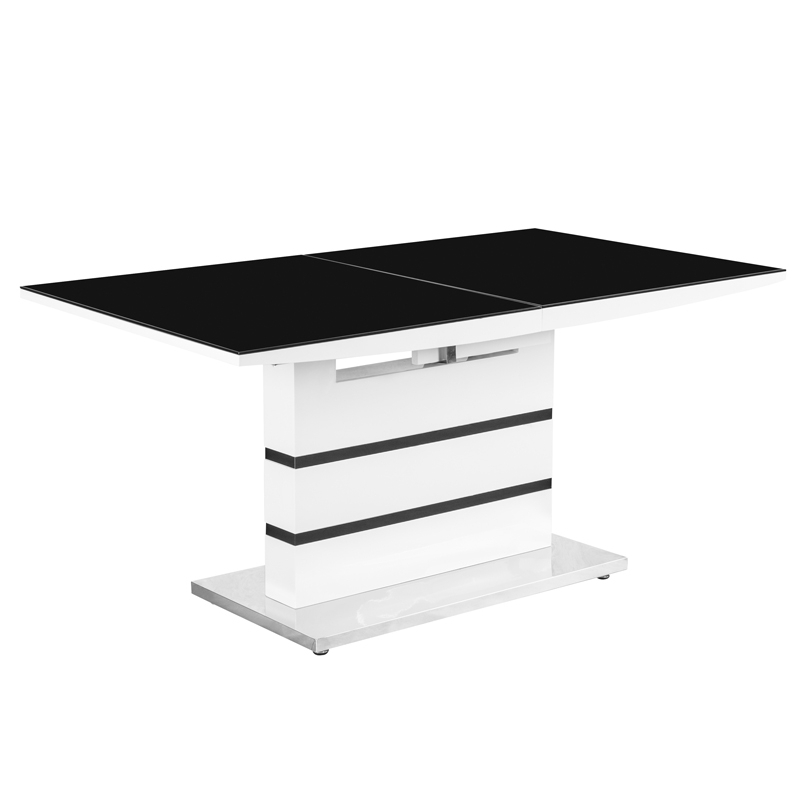Deco in paris table 6 chaises design noir et blanc elyse for Ensemble table et chaise noir et blanc