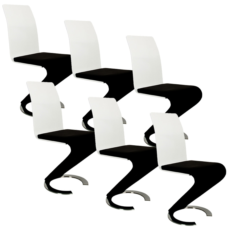 Deco in paris table 6 chaises design noir et blanc elyse - Chaise noir et blanc design ...