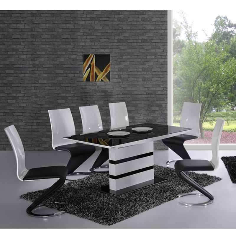 Deco in paris table 6 chaises design noir et blanc elyse for Table en verre et chaise