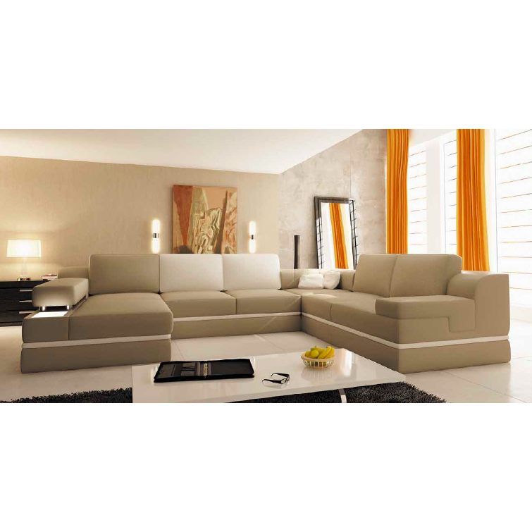 deco in paris canape panoramique cuir beige et blanc. Black Bedroom Furniture Sets. Home Design Ideas