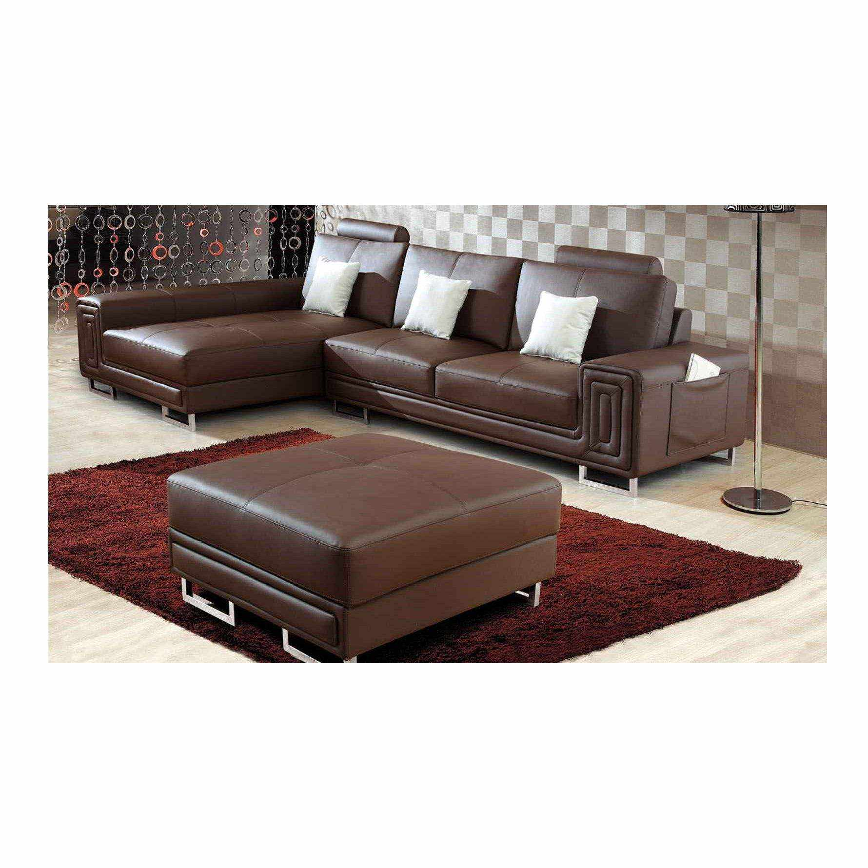 Deco in paris canape cuir d angle marron avec pouf for Canape cuir paris