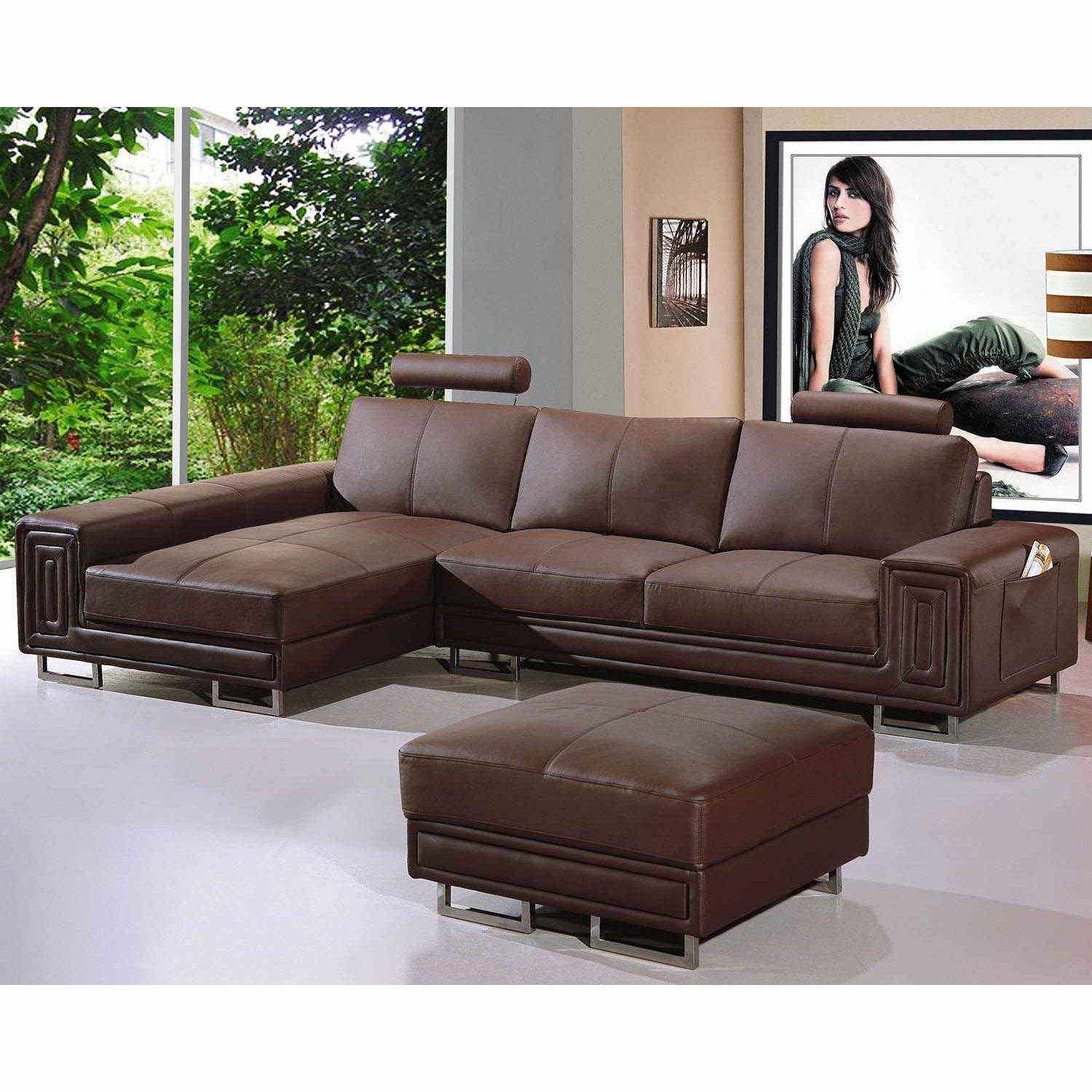 Deco in paris canape cuir d angle marron tetieres relax for Canape d angle cuir vieilli marron