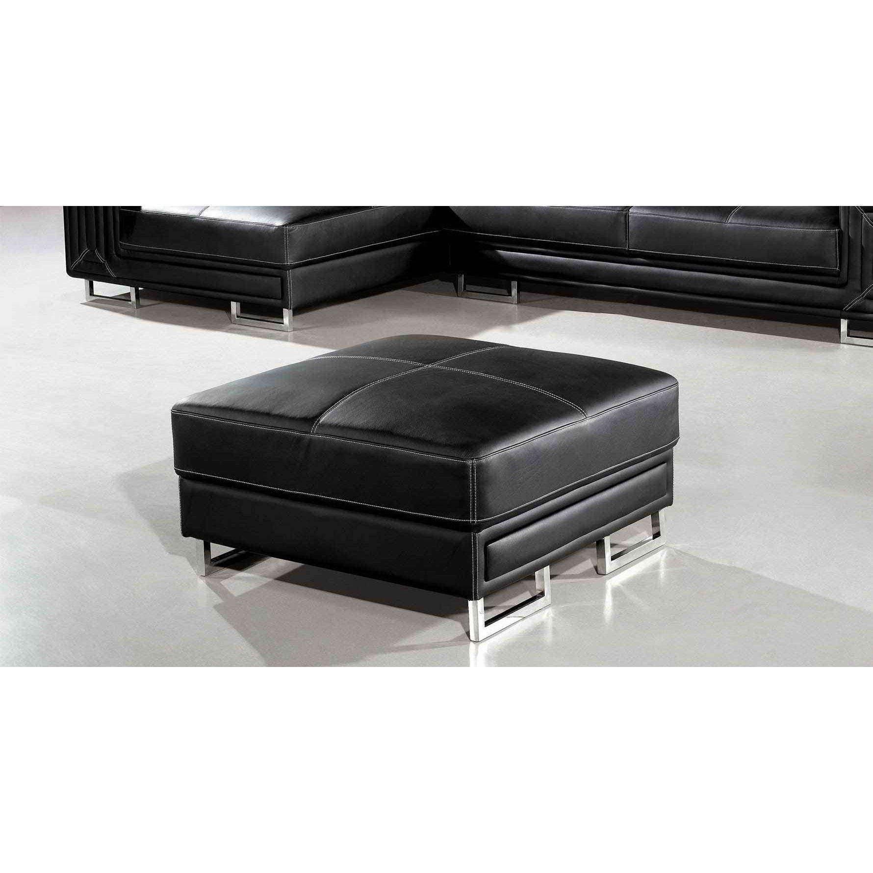 deco in paris canape cuir d angle noir avec pouf. Black Bedroom Furniture Sets. Home Design Ideas