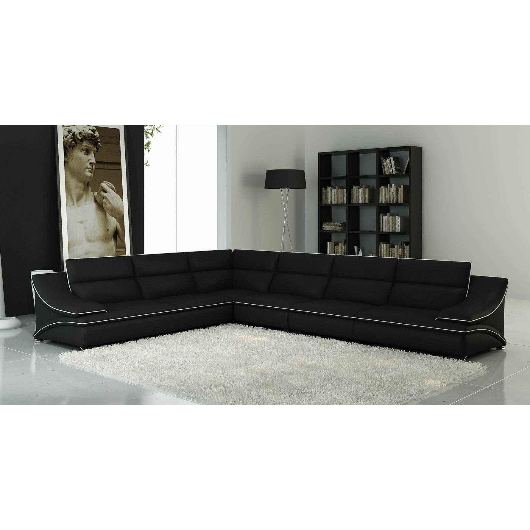 Deco in paris canape d angle modulable cuir design noir for Canape noir et blanc design