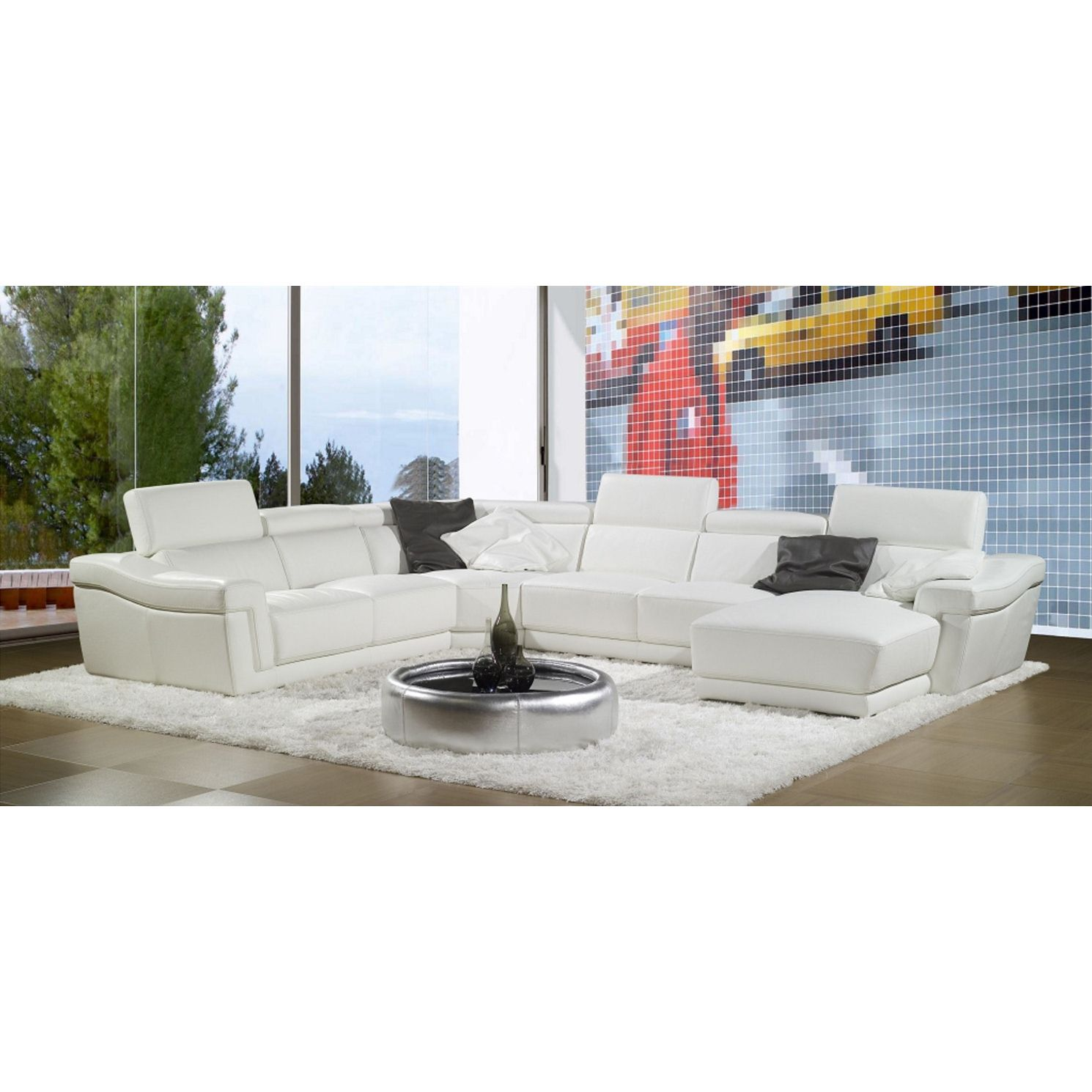 Deco in paris grand canape d angle cuir blanc tetieres for Canape cuir paris