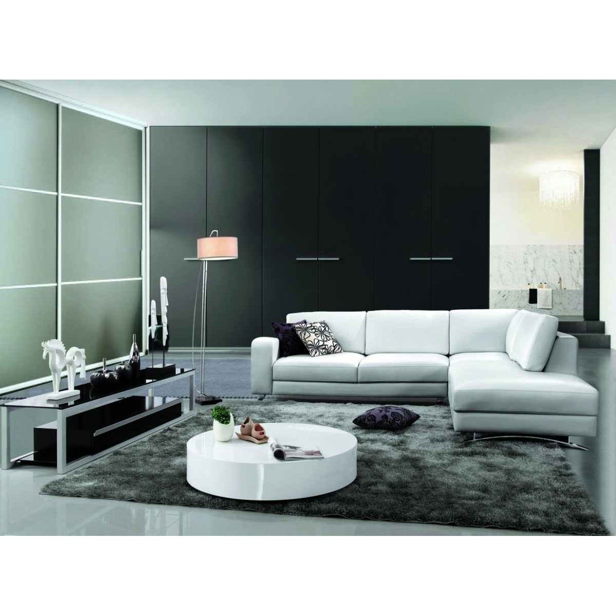 deco in paris canape d angle contemporain cuir blanc. Black Bedroom Furniture Sets. Home Design Ideas