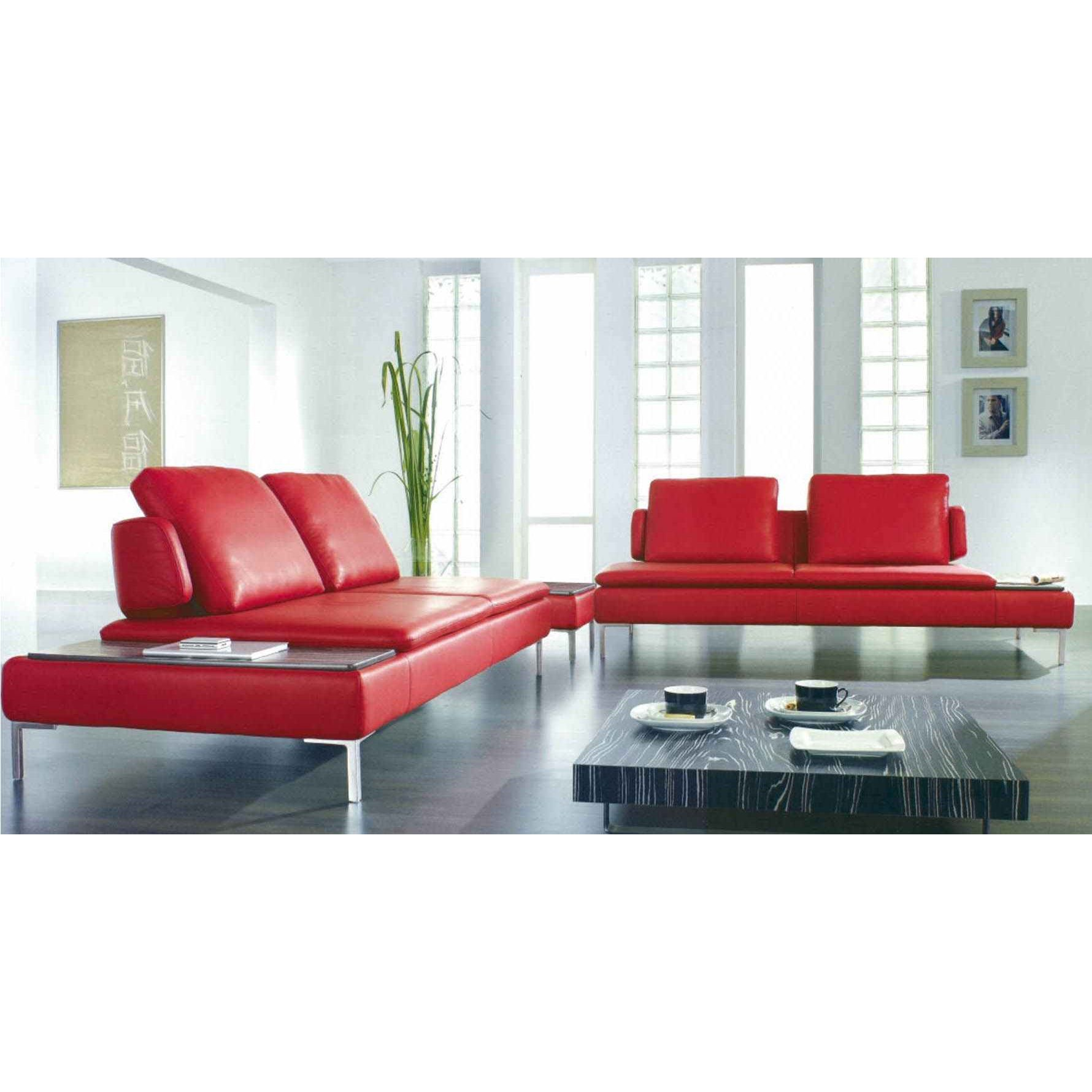 Deco In Paris Canape D Angle Design Cuir Rouge Carlton Can Angledroit Carlton Pu Rouge