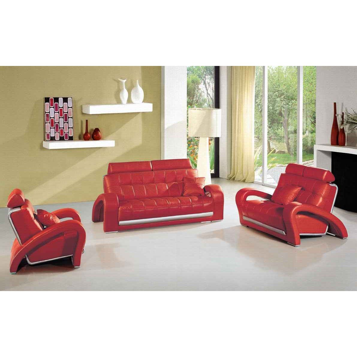 deco in paris canape cuir rouge 3 places verdi can verdi 3p pu rouge. Black Bedroom Furniture Sets. Home Design Ideas