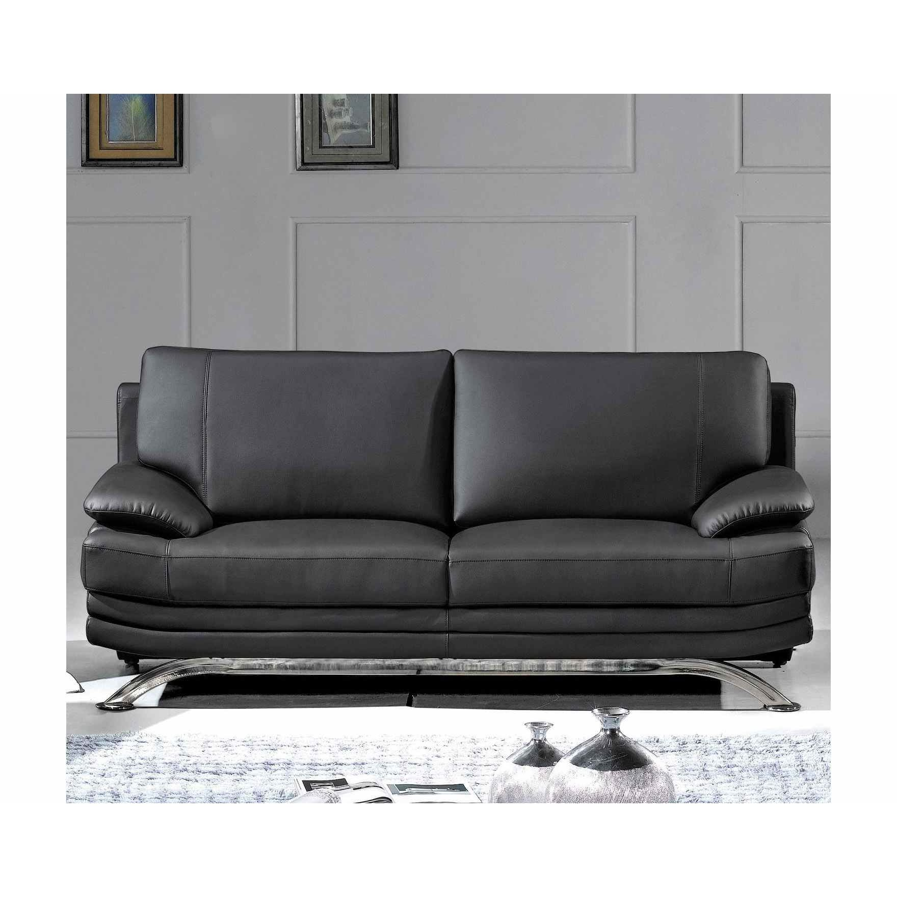 Deco in paris canape cuir noir 2 places romeo can romeo for Canape cuir noir