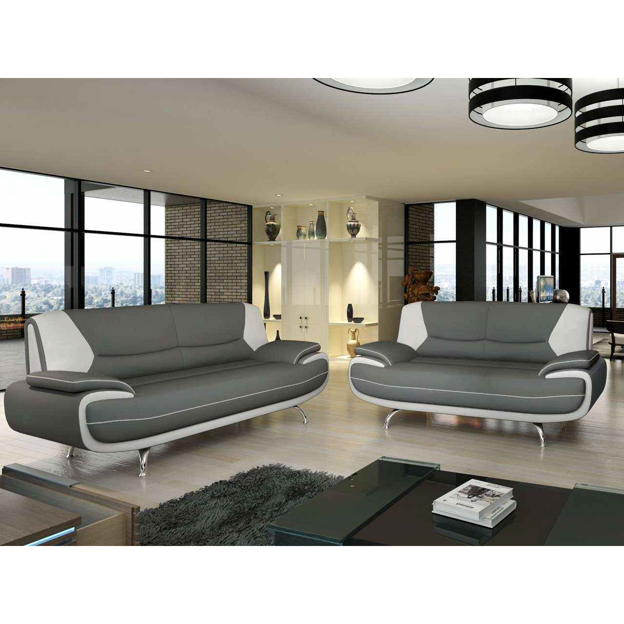 deco in paris canape 2 places design gris et blanc. Black Bedroom Furniture Sets. Home Design Ideas