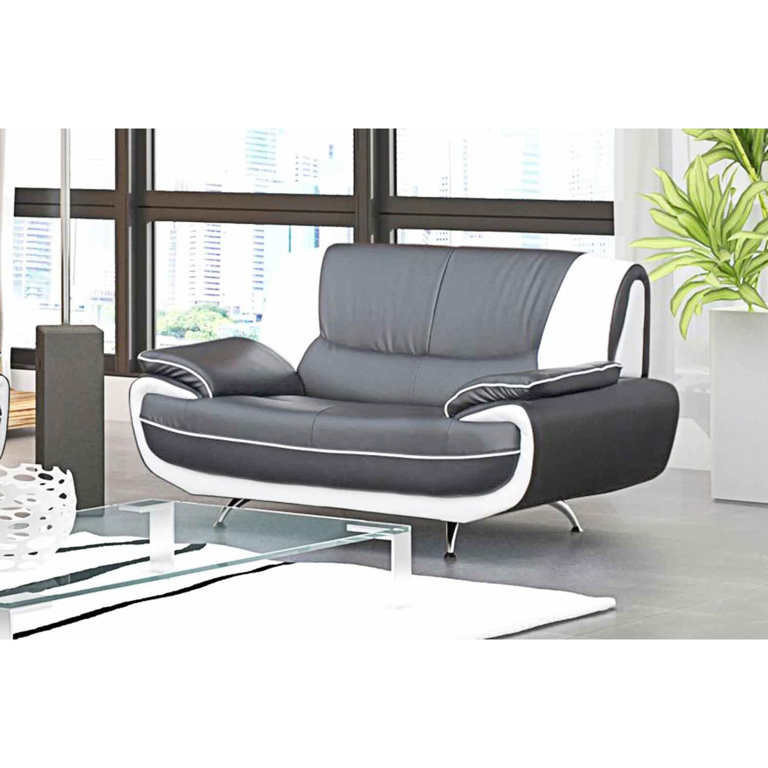 Deco in paris canape 2 places design gris et blanc marita marita 2pl gris b - Fauteuil 2 places design ...