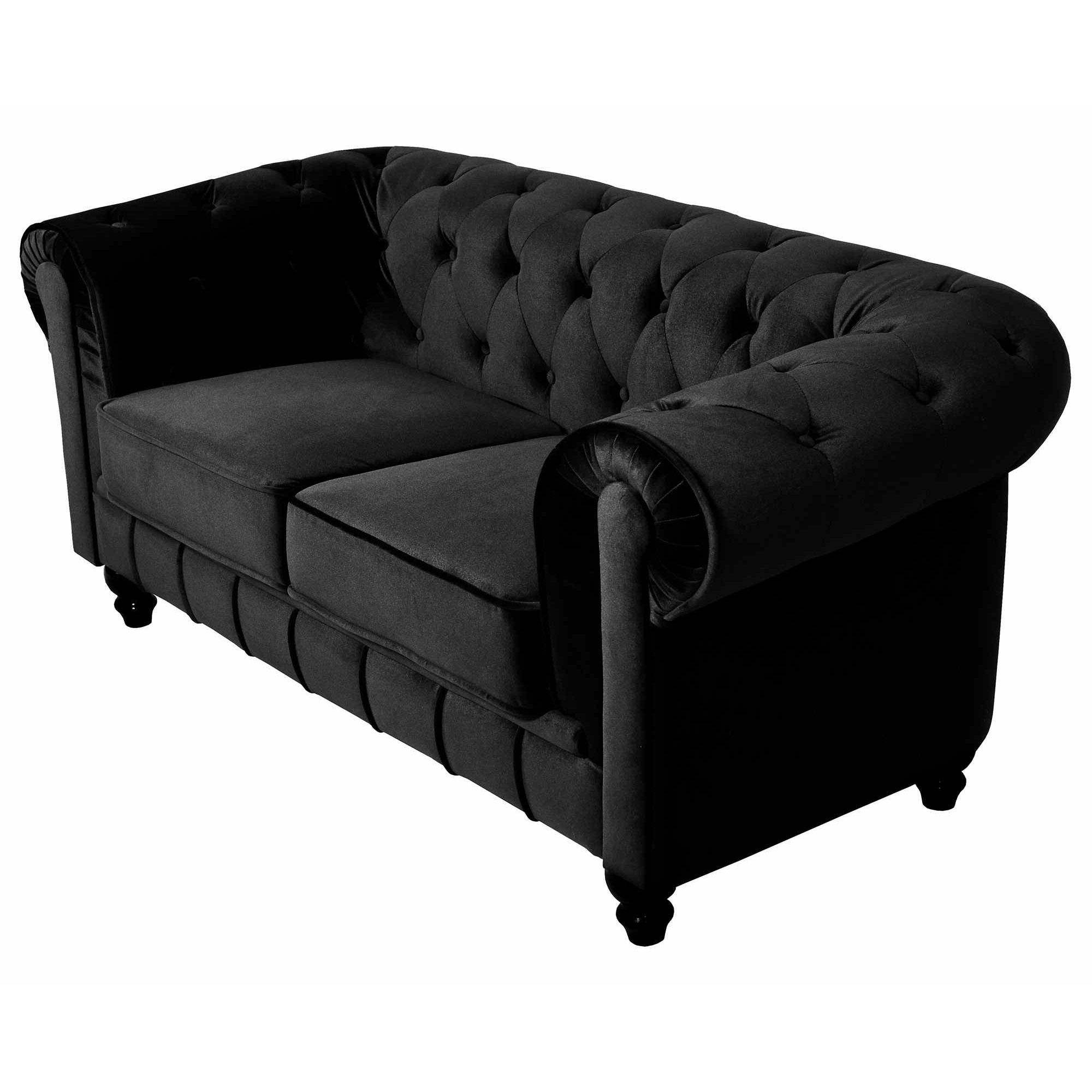 deco in paris canape 2 places velours noir chesterfield can chester 2p velours noir. Black Bedroom Furniture Sets. Home Design Ideas